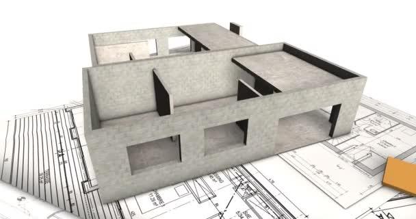 4k time-lapse 3D animace. bytová výstavba zobrazující proces od plánů až po instalaci střechy