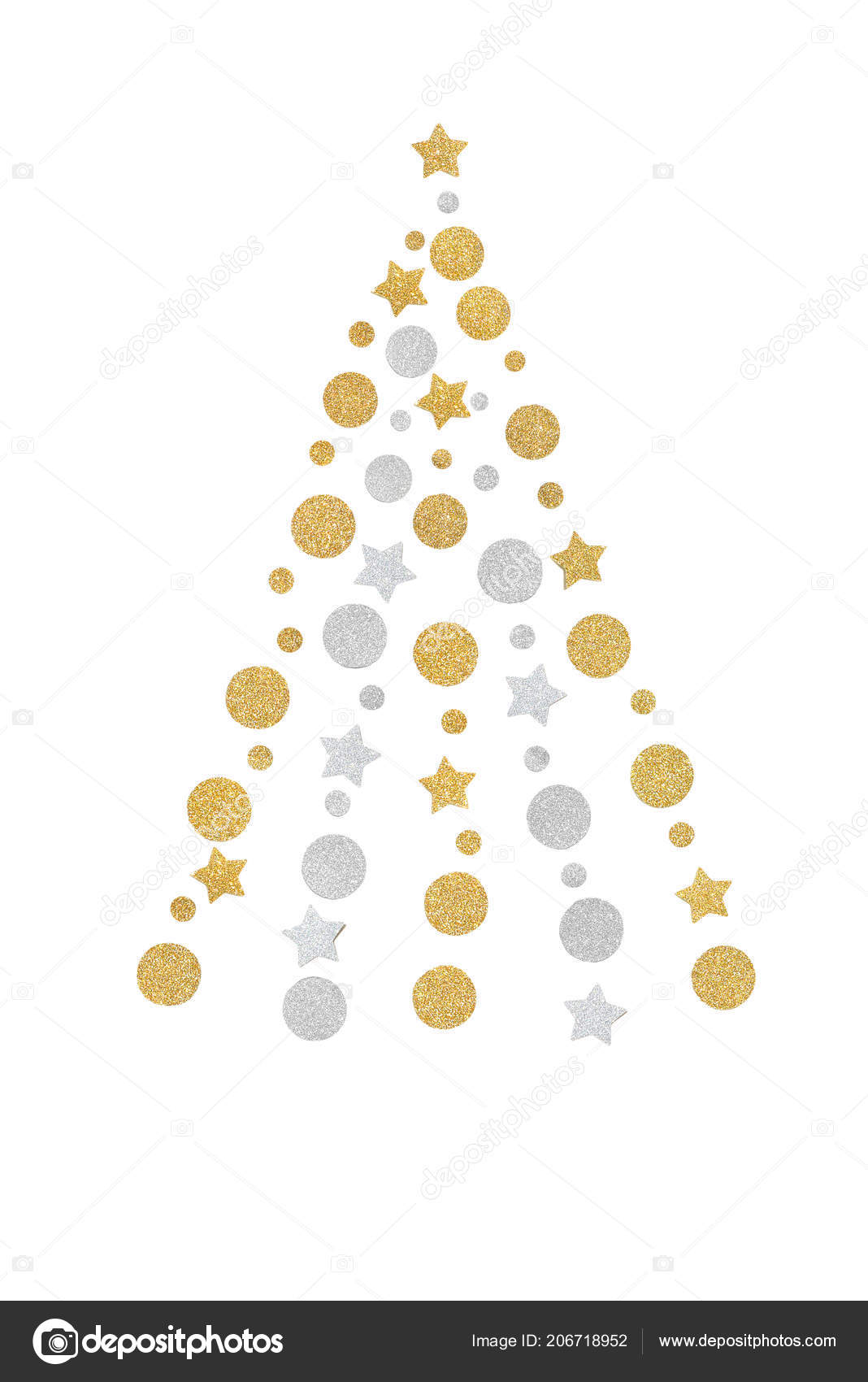 Gold silver glitter christmas tree paper cut white background isolated stock photo