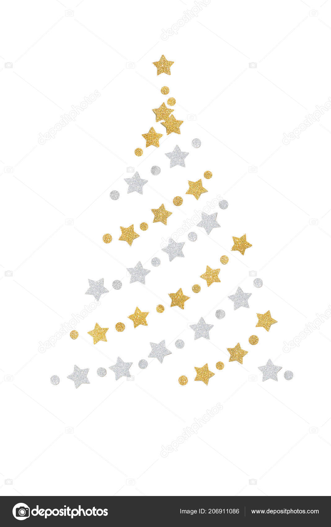 Gold and silver glitter christmas tree paper cut on white background stock photo