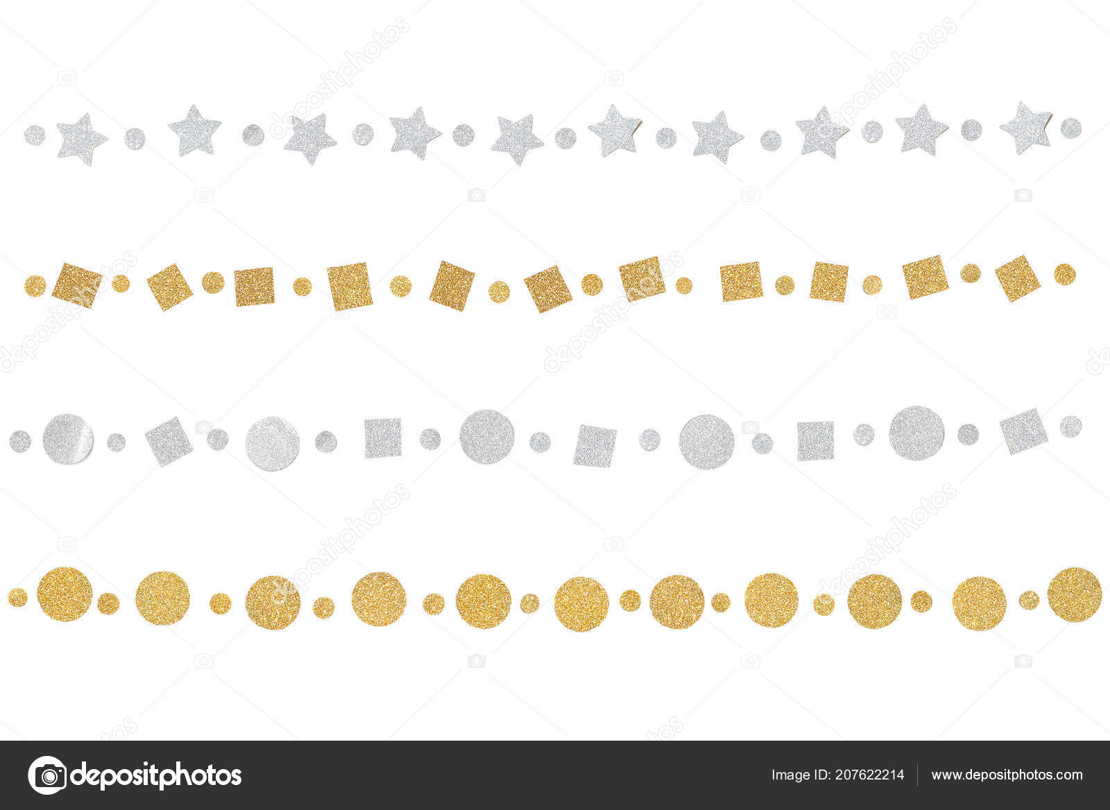 Gold Silver Glitter Bunting Paper Cut White Background Isolated ...