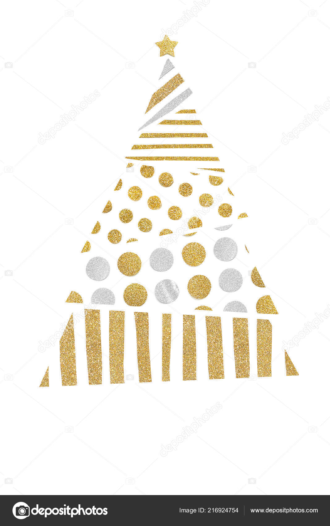 Christmas trees paper cut on white background isolated stock image