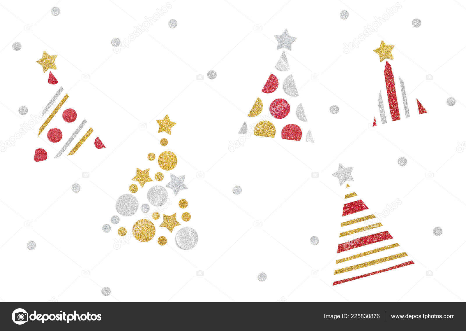 Many christmas trees paper cut white background isolated stock photo