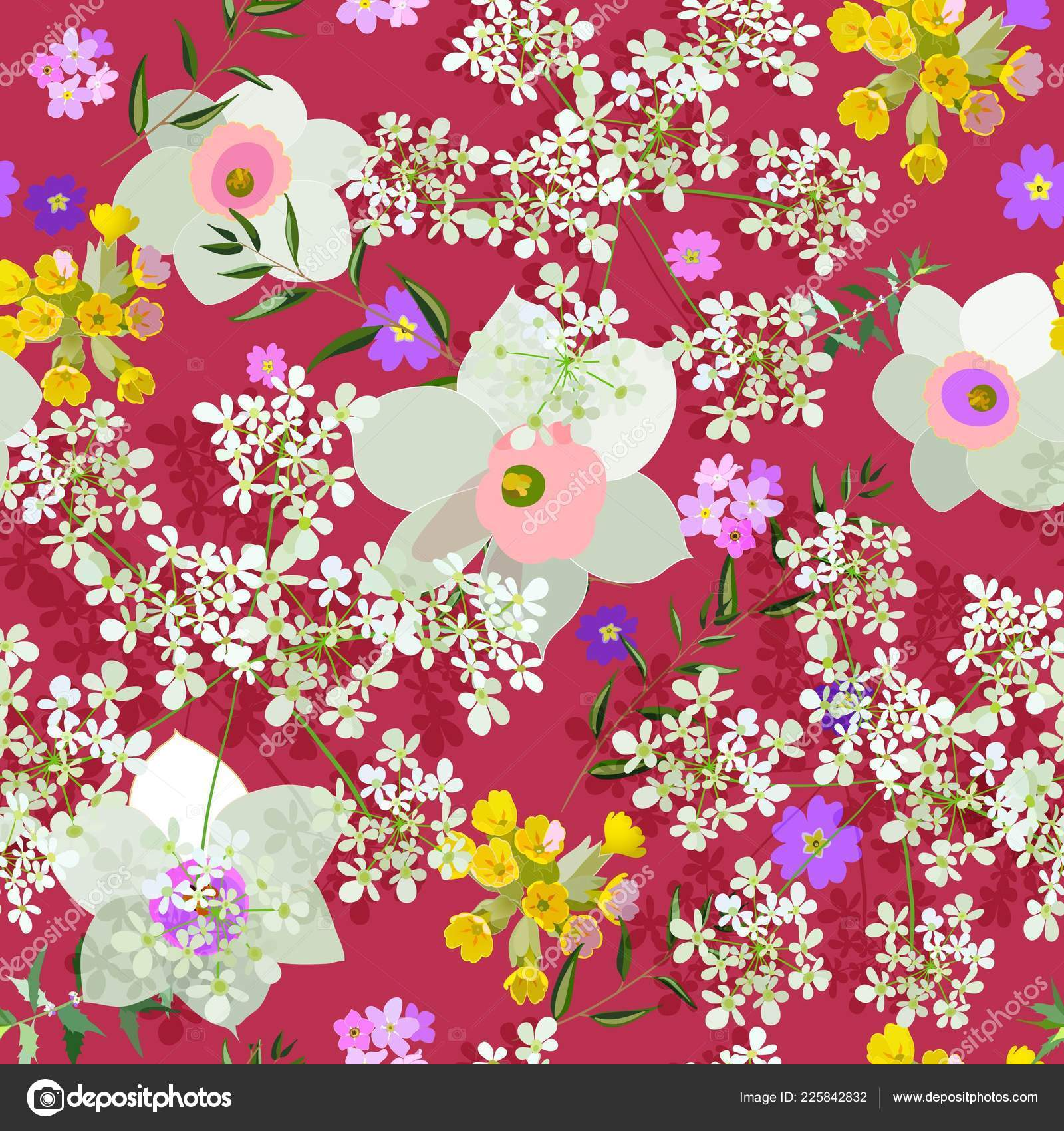 Amazing Seamless Floral Pattern Bright Colorful Flowers Leaves