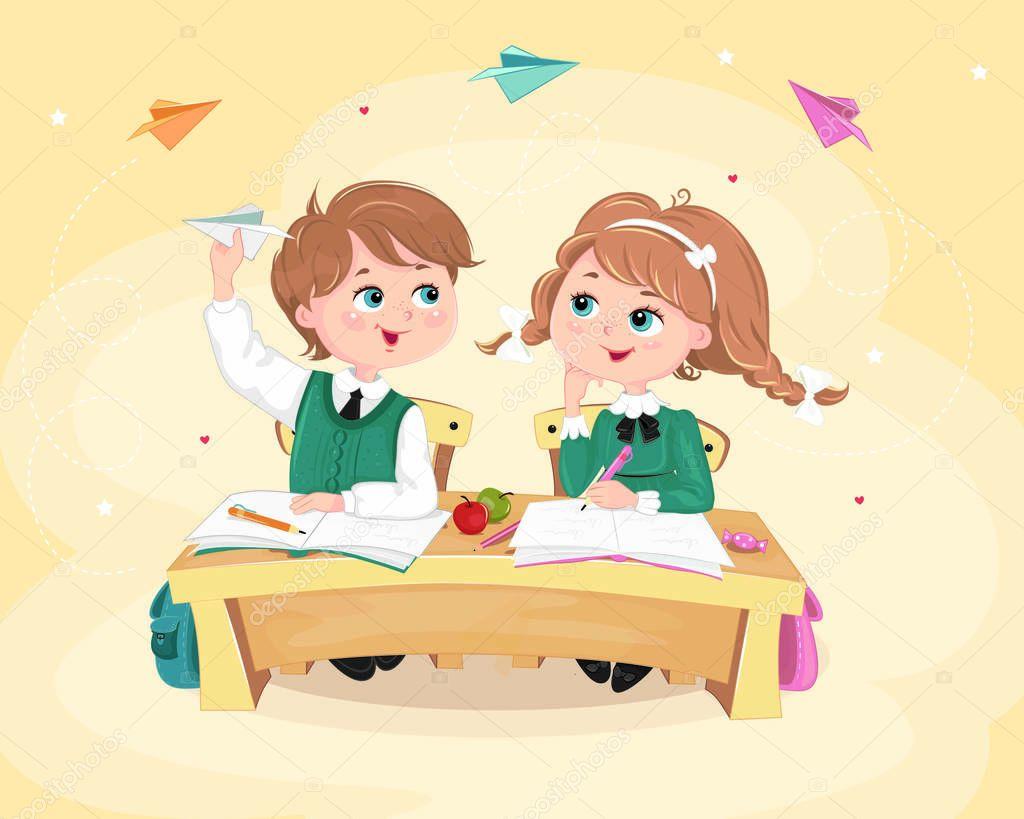 Картинки, открытки ребенок за партой