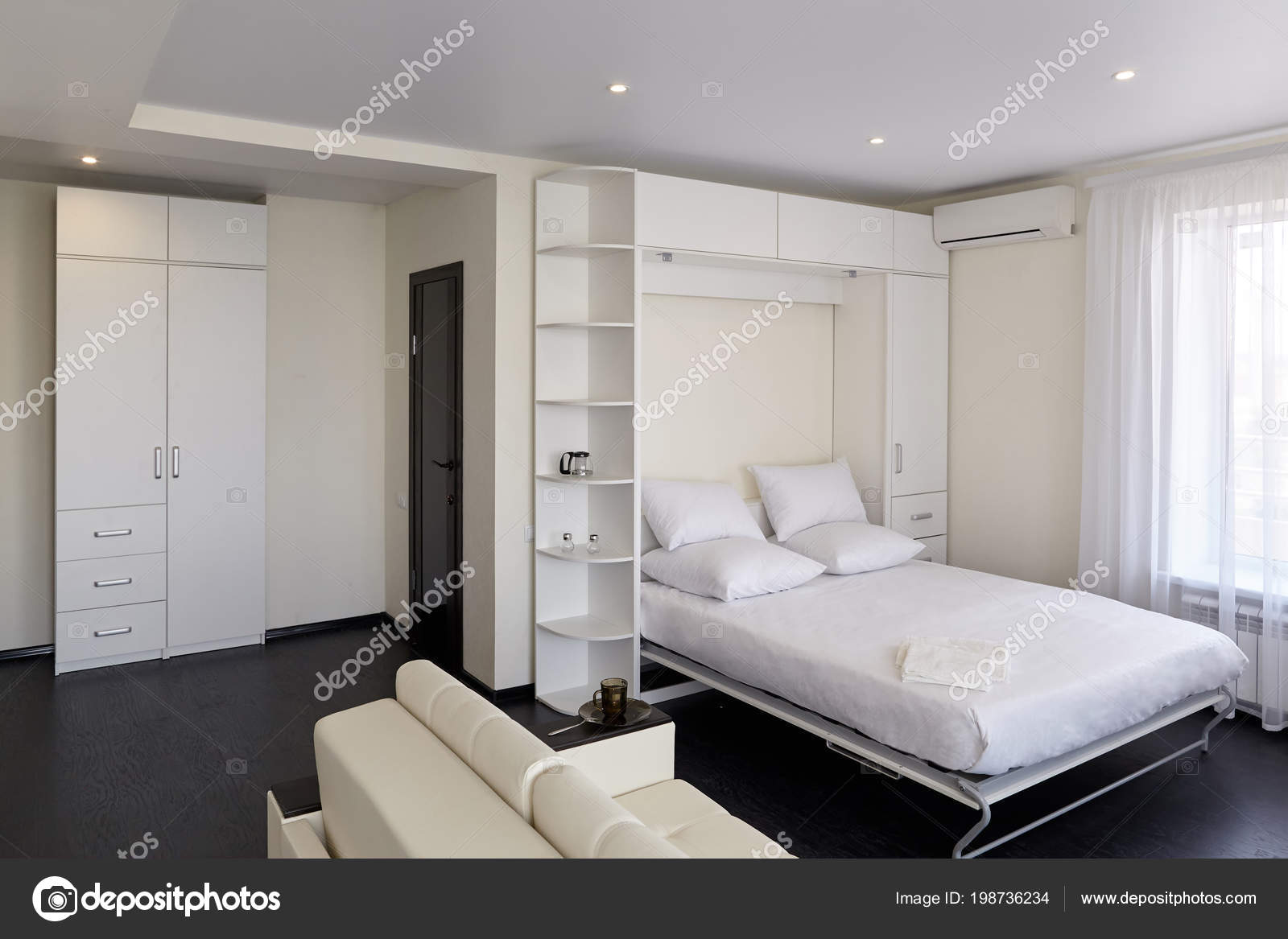 Interior Modern Studio Apartment Light Windows Bedroom Sofa ...