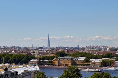 St. Petersburg, Russia: June 14, 2018: Scenic view on Saint-Petersburg city from the colonnade of St. Isaac.