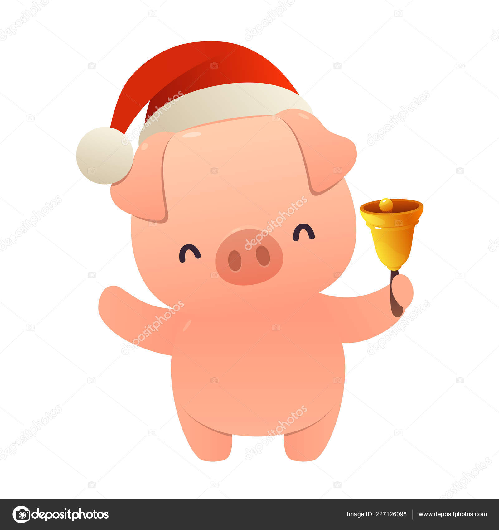Christmas Pig.Cute Cartoon Christmas Pig Holds Bell Isolated White