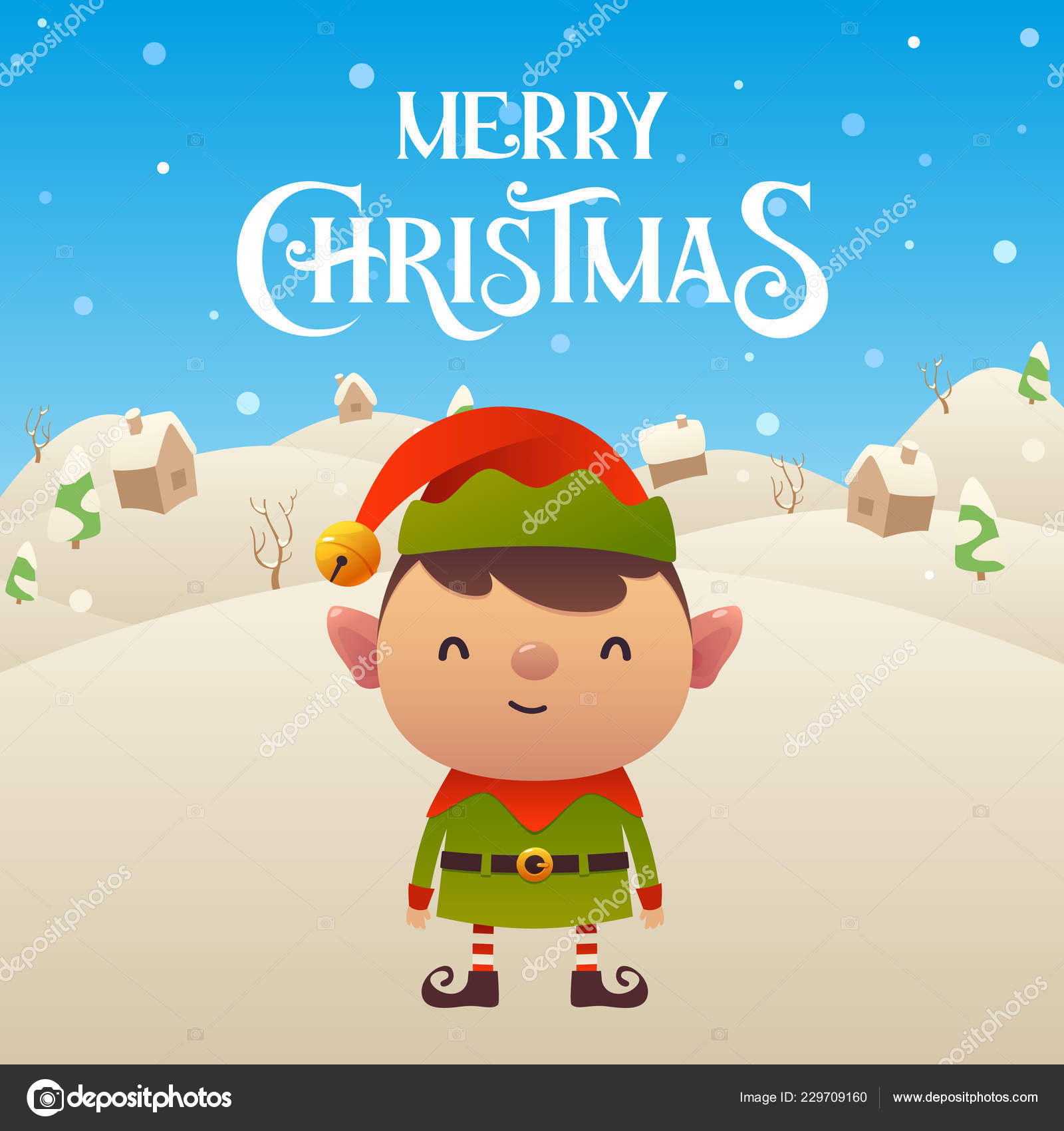 cute cartoon elf character merry christmas and happy new year background vector vector by lakosta16mailru