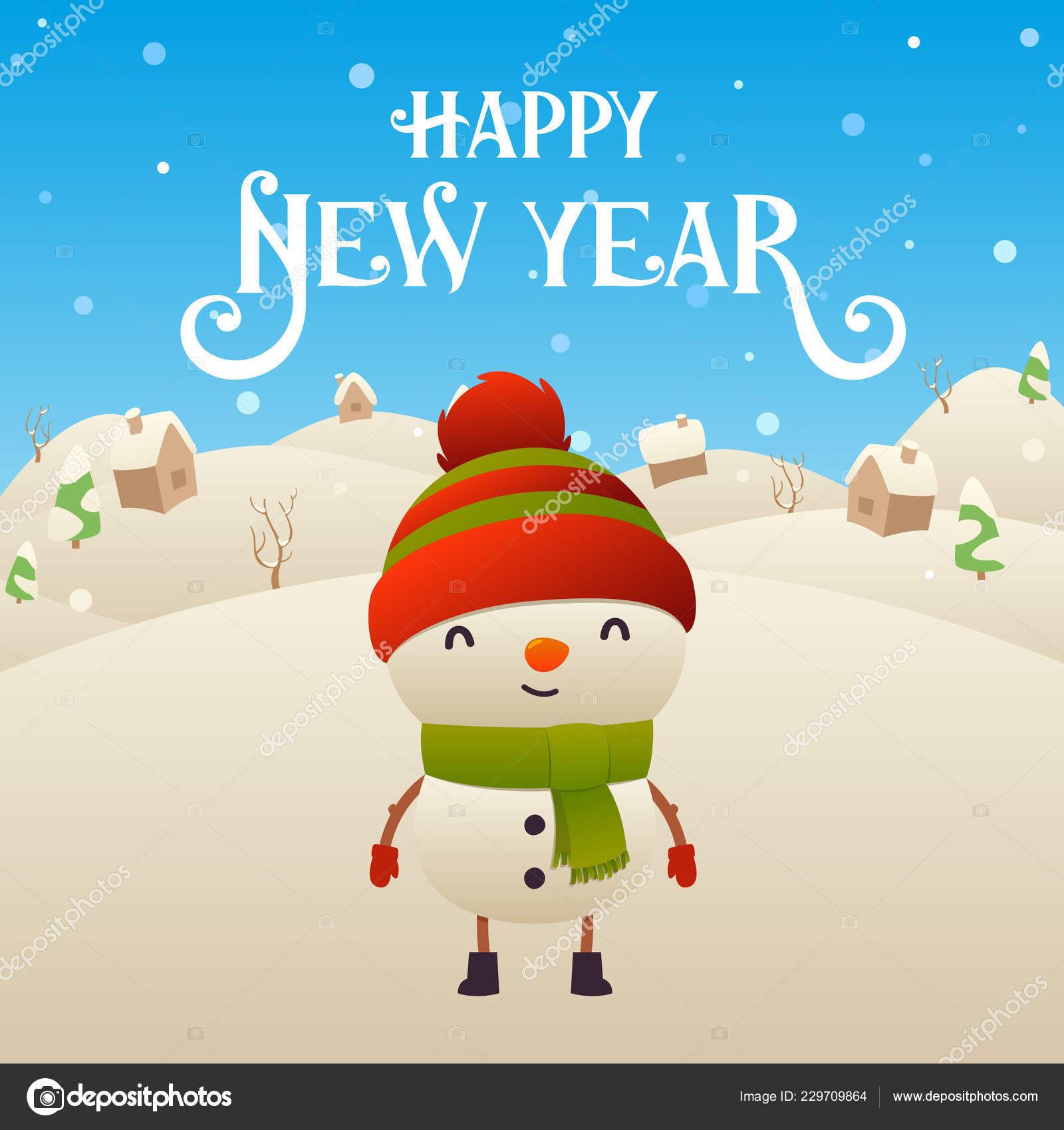 cute cartoon snowman character merry christmas and happy new year background vector vector by lakosta16mailru