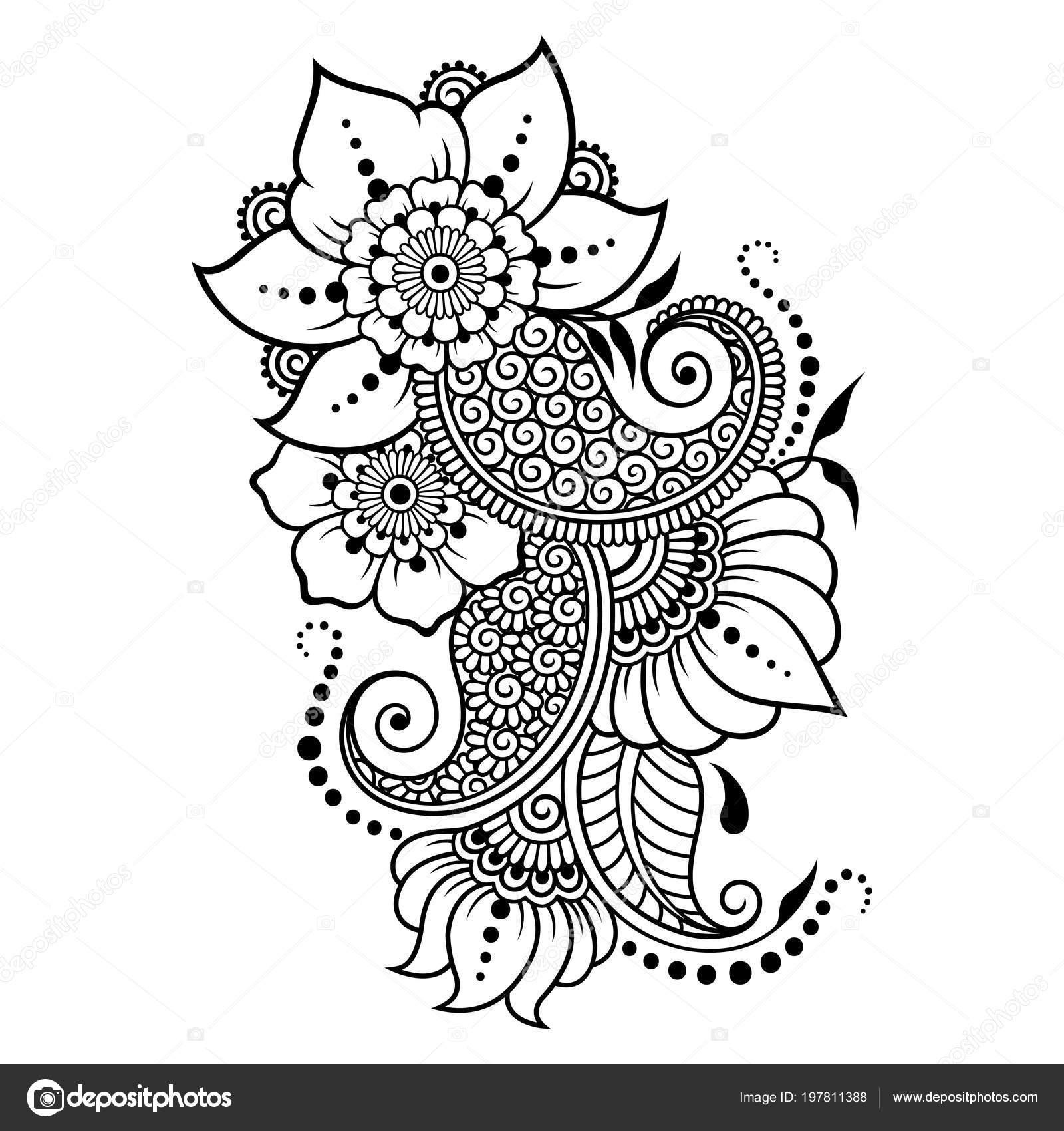 Dessin Pour Henné mehndi sport motif fleurs pour dessin henné tatouage décoration