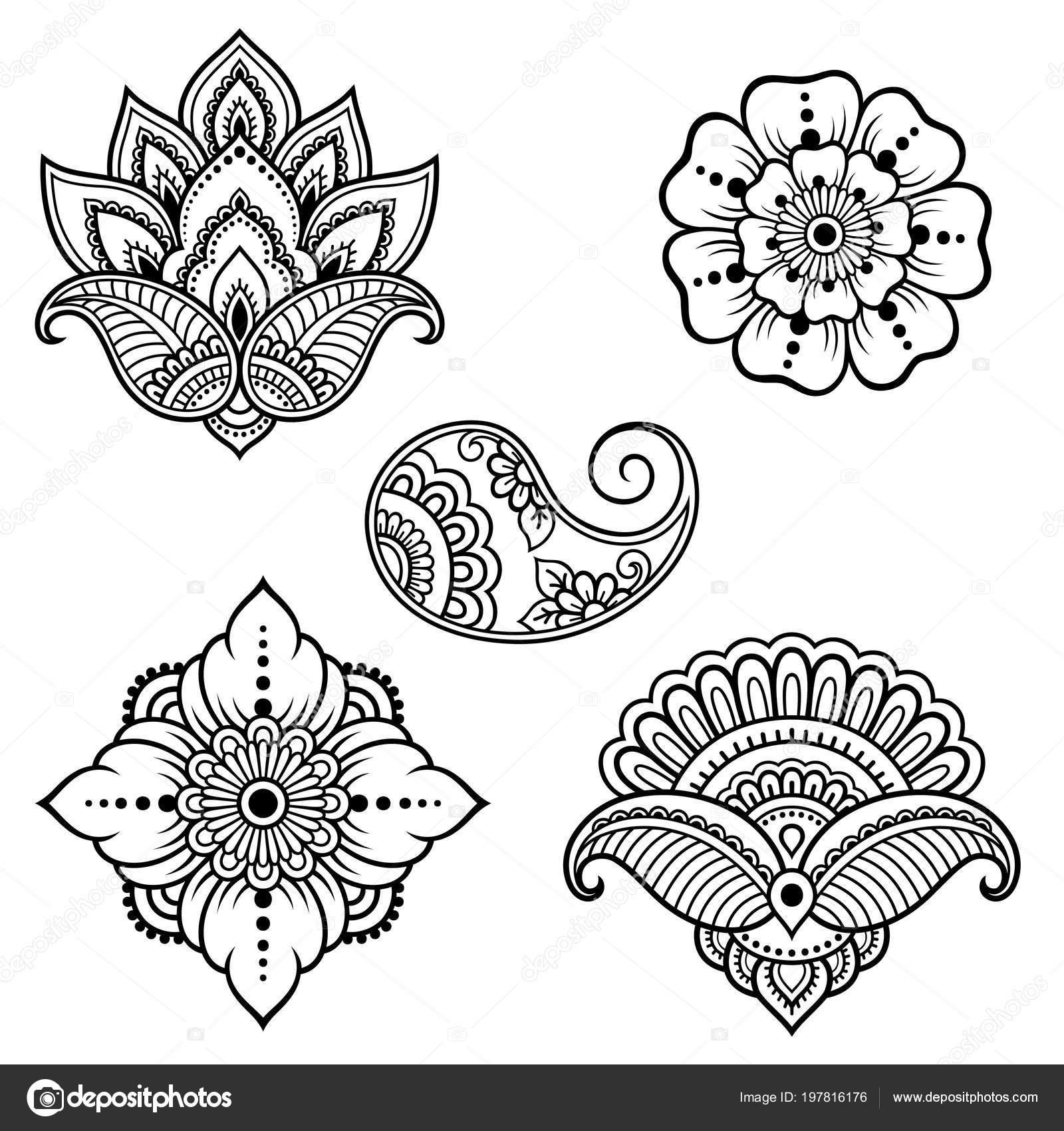 Dibujos Indios Para Tatuar Conjunto Del Patrón Flor