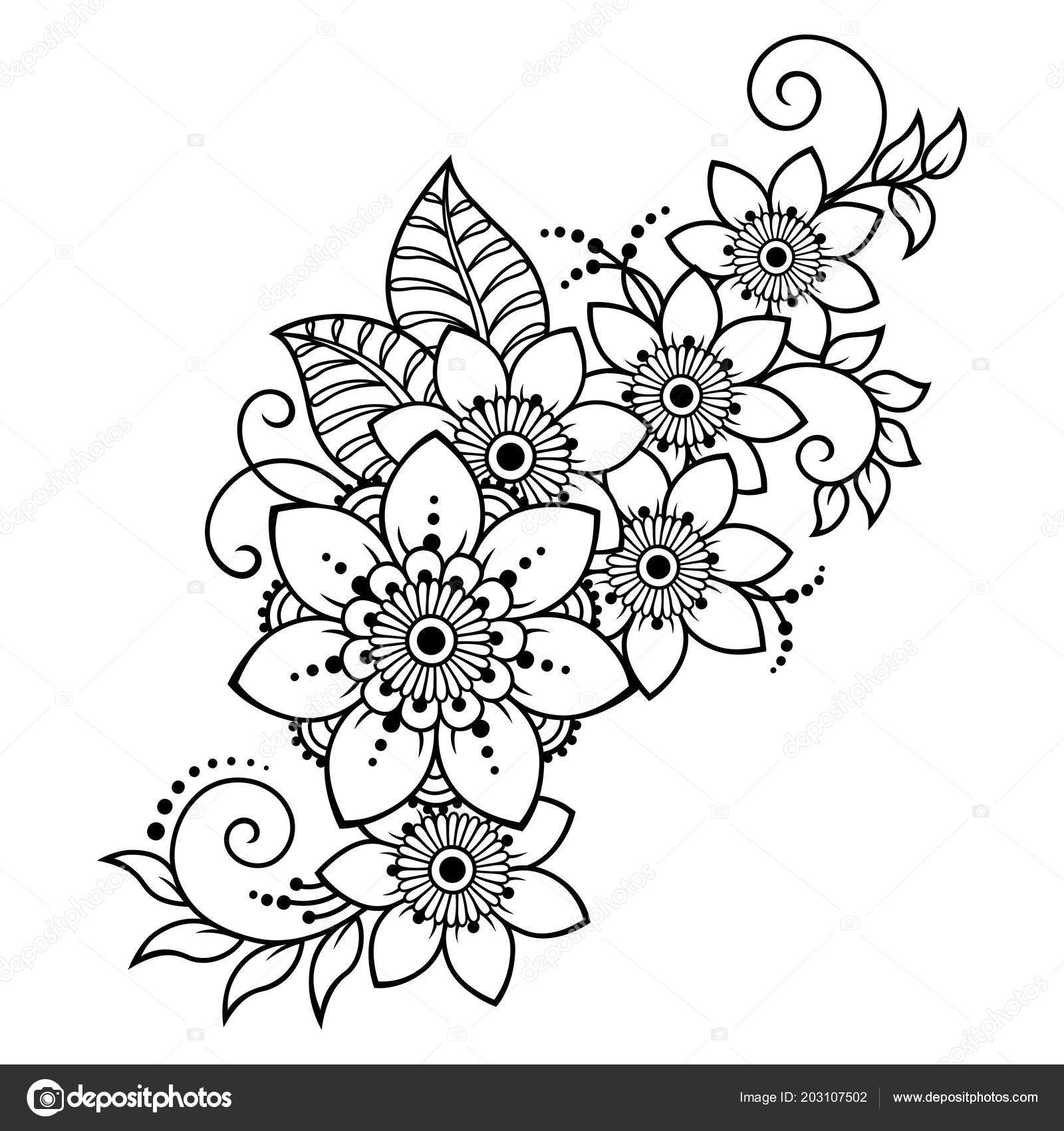 Patrón Flor Mehndi Para Dibujo Henna Tatuajes Decoración