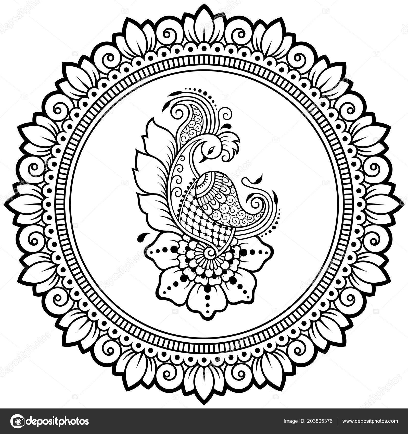 circular pattern form mandala bird template peacock henna mehndi