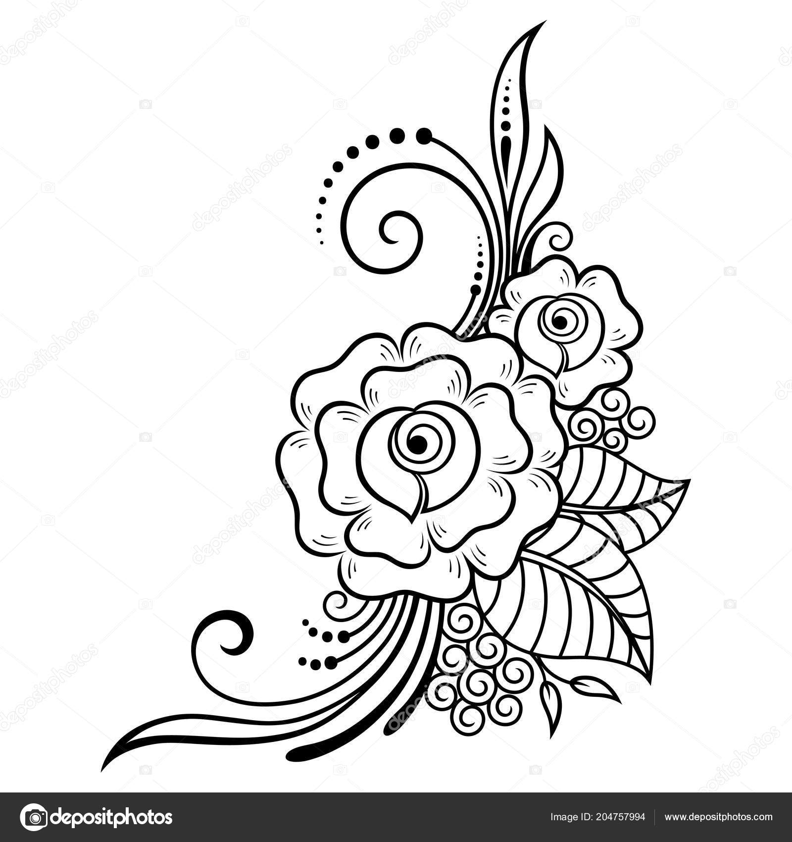 Mehndi Flower Pattern Henna Drawing Tattoo Decoration Ethnic