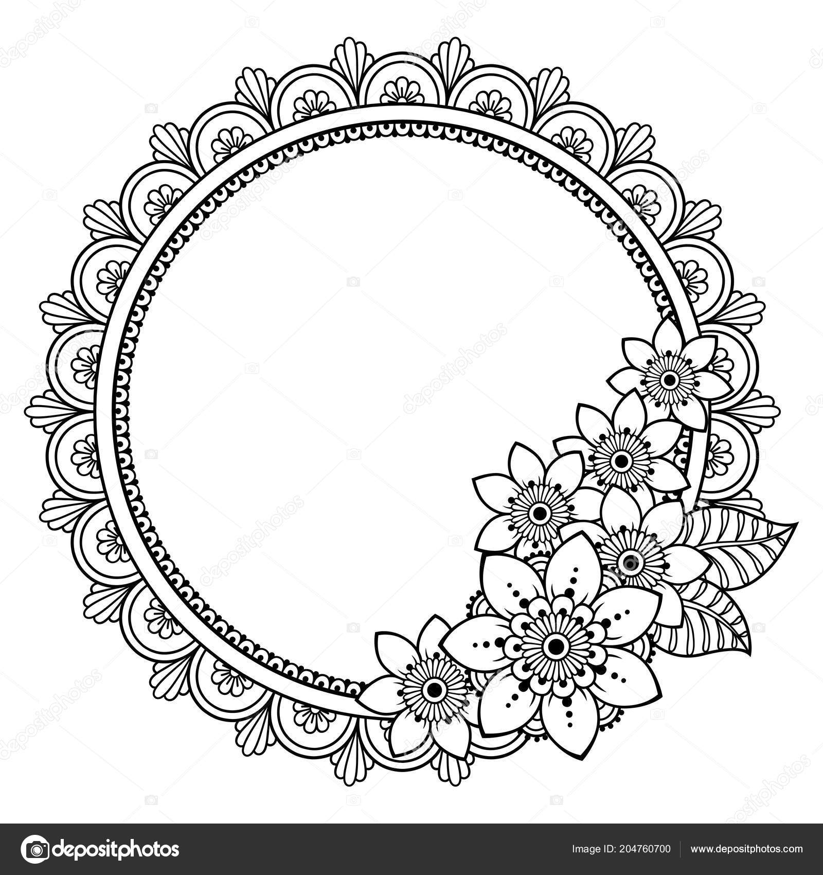 61ad9879f Circular pattern in form of mandala for Henna, Mehndi, tattoo, decoration.  Decorative frame with flower ornament in ethnic oriental style.