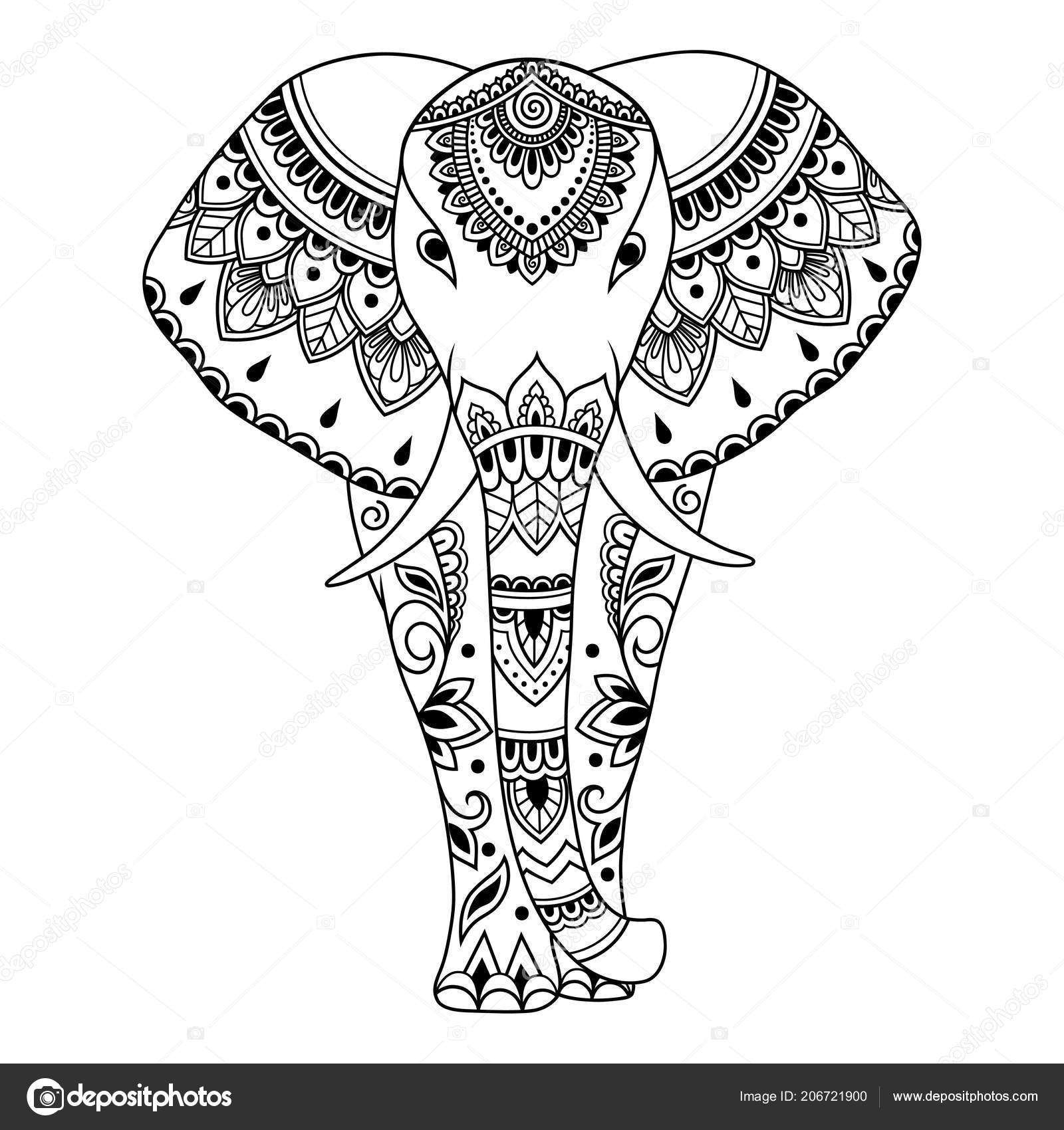 Elefante Africano Decorado Indios étnicos Flores Vintage Animales