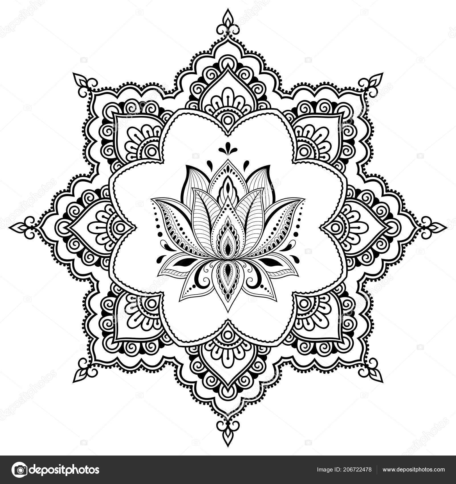 Circular Pattern Form Mandala Lotus Flower Henna Mehndi Tattoo