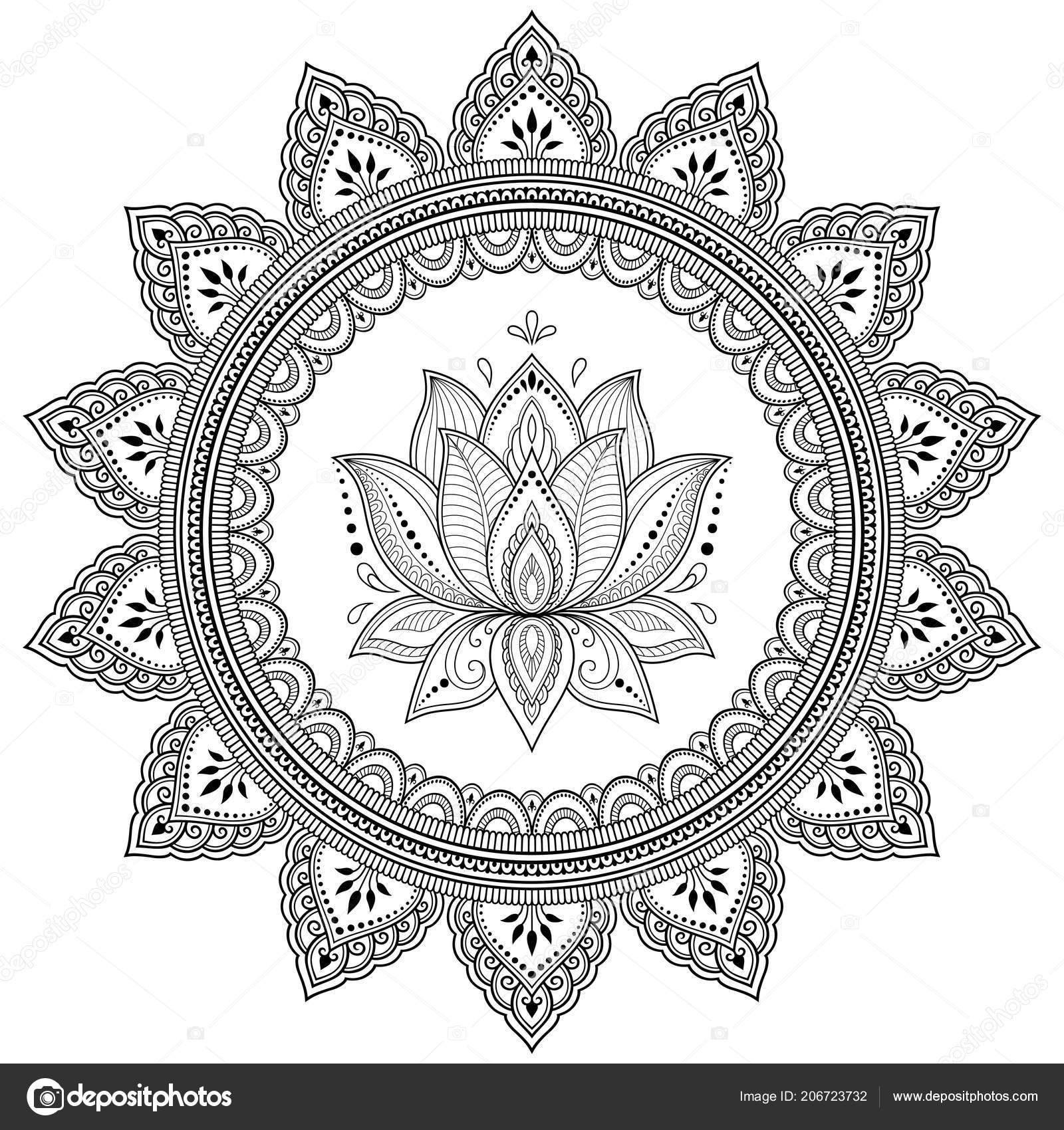 Circulaire Patroon Vorm Van Een Mandala Met Lotusbloem Voor Henna