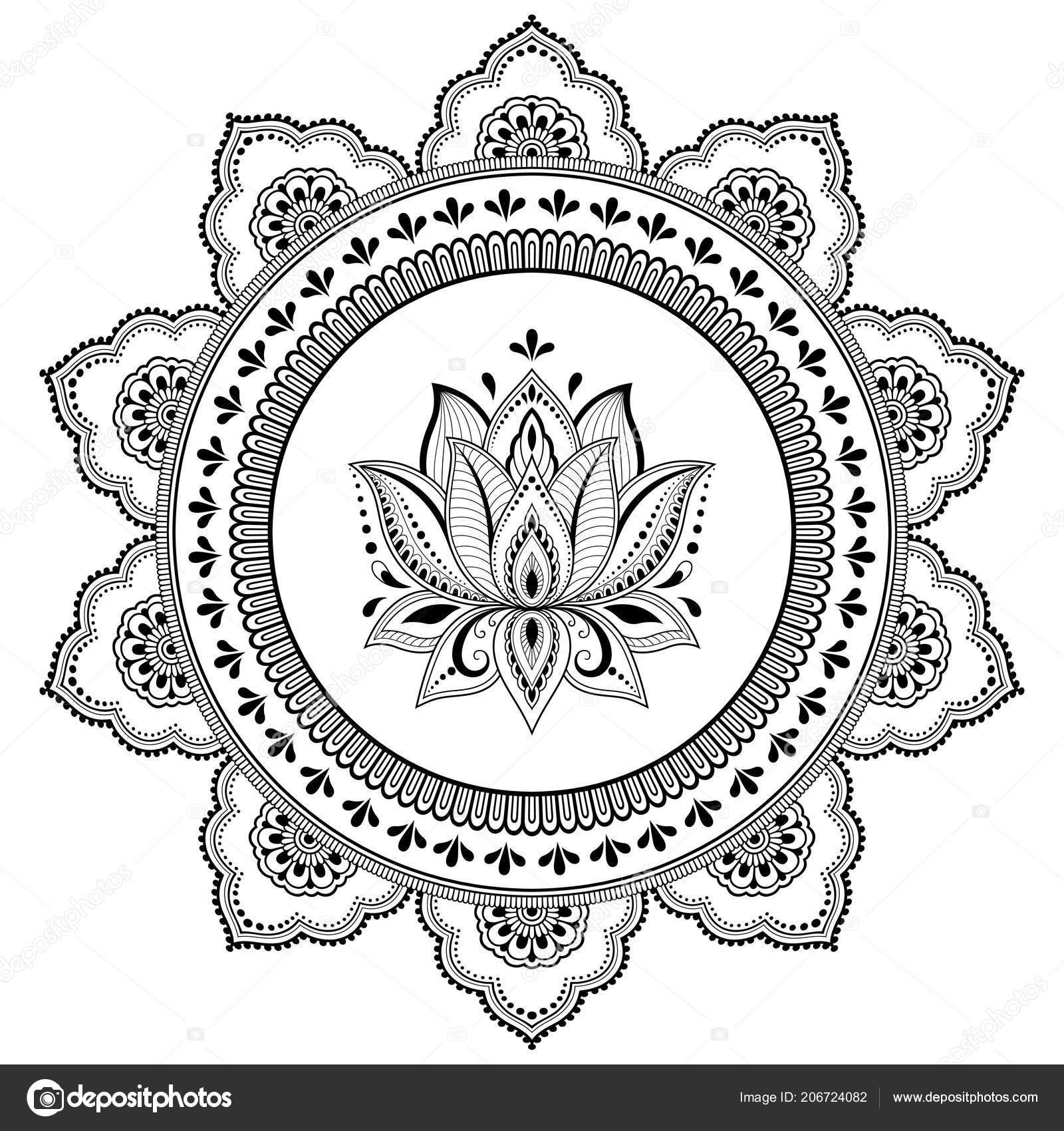 Szyk Kołowy Formie Mandali Kwiat Lotosu Mehndi Tatuaż Ozdoba Henna