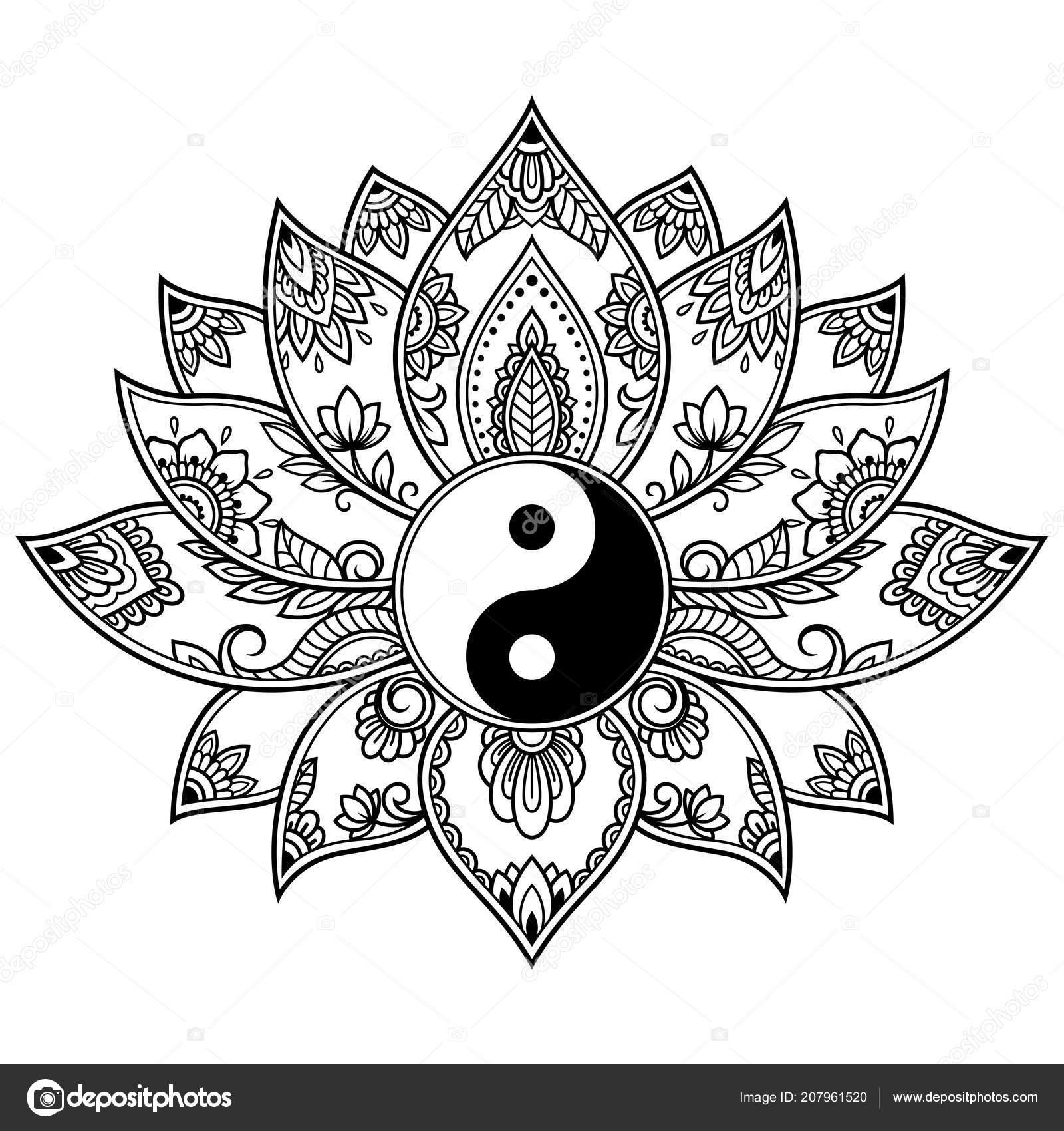 Patrón Flor Mehndi Lotus Con Símbolo Del Yin Yang Para Archivo