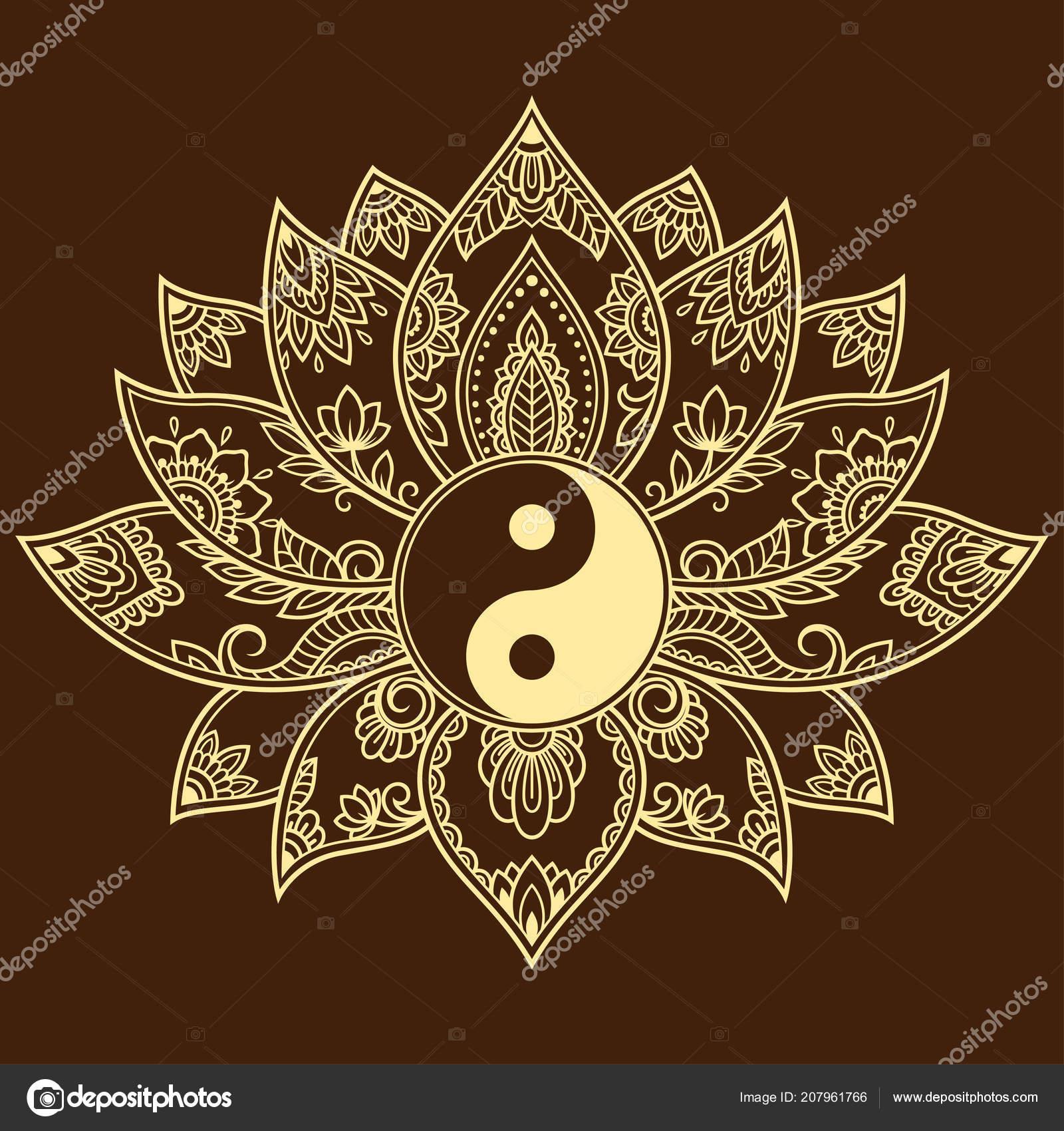 Mehndi Lotus Flower Pattern Yin Yang Symbol Henna Drawing Tattoo