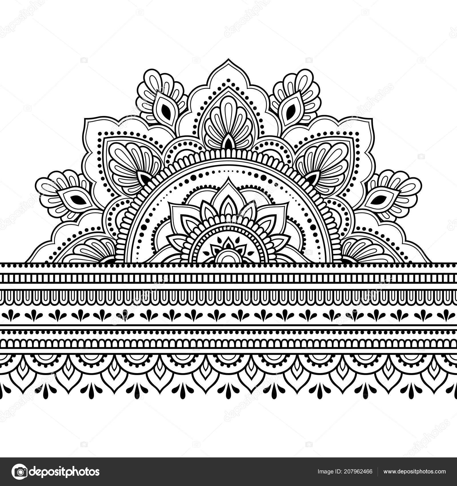 Fronteras Con Mandala Para Diseño Aplicación Henna Mehndi Tatuaje