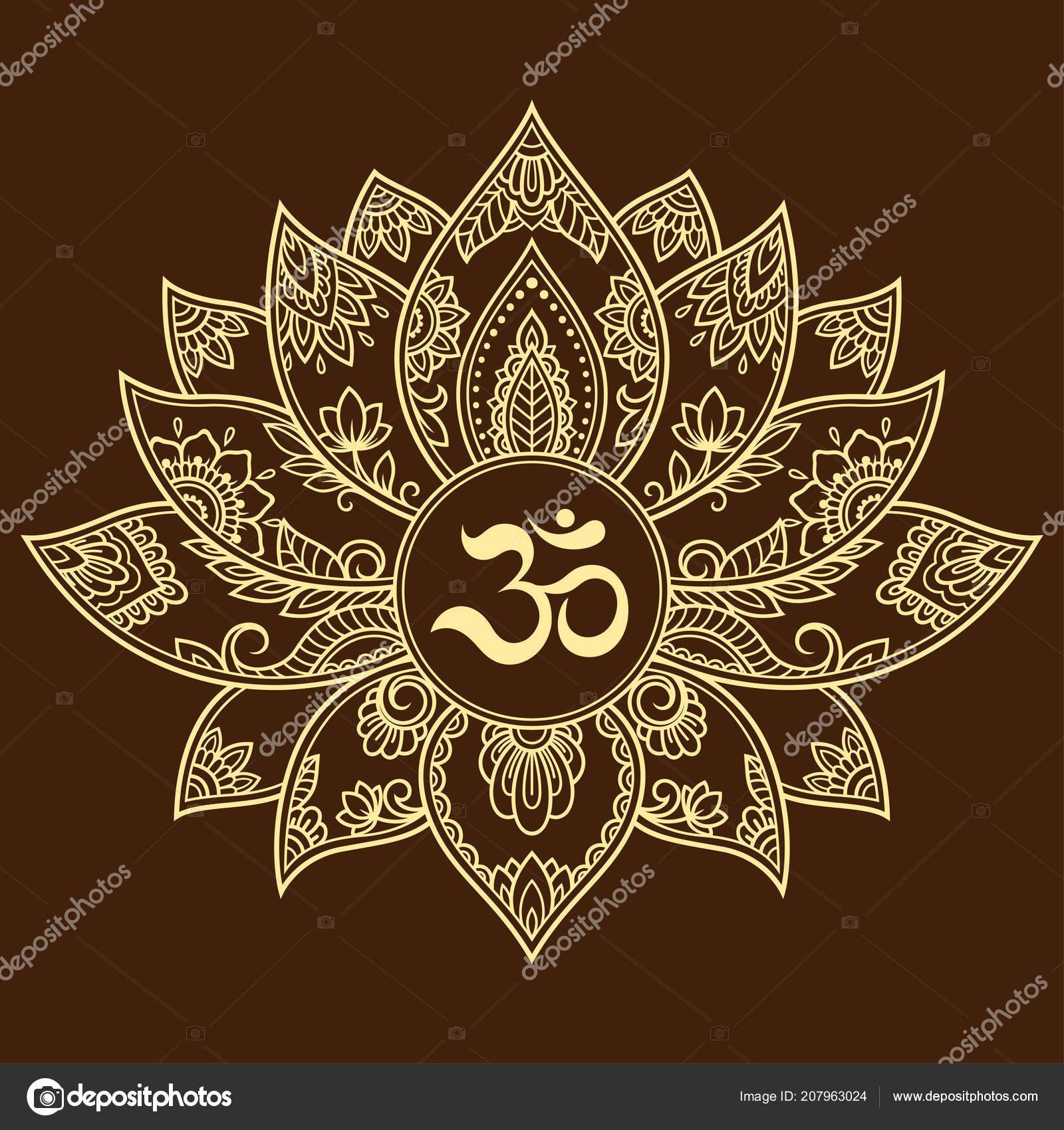 Mehndi Lotus Flower Pattern Mantra Symbol Henna Drawing Tattoo