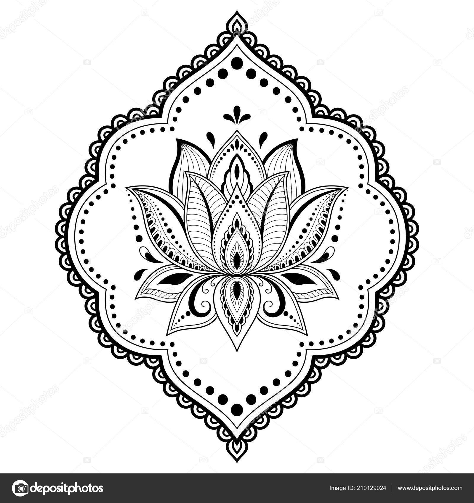Patrón Flor Loto Mehndi Para Dibujo Henna Tatuajes Decoración Estilo