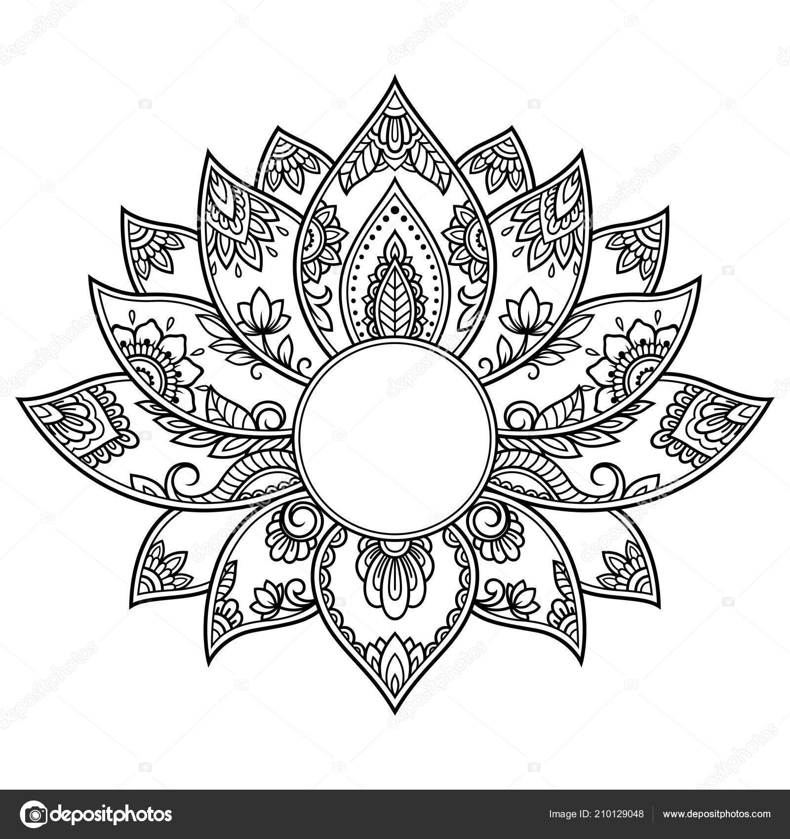 Mehndi Lotus Flower Pattern Henna Drawing Tattoo Decoration Ethnic
