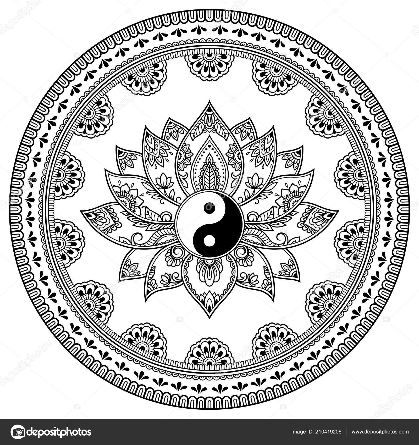 Motif Circulaire Forme Mandala Avec Fleur Lotus Pour Mehndi Tatouage
