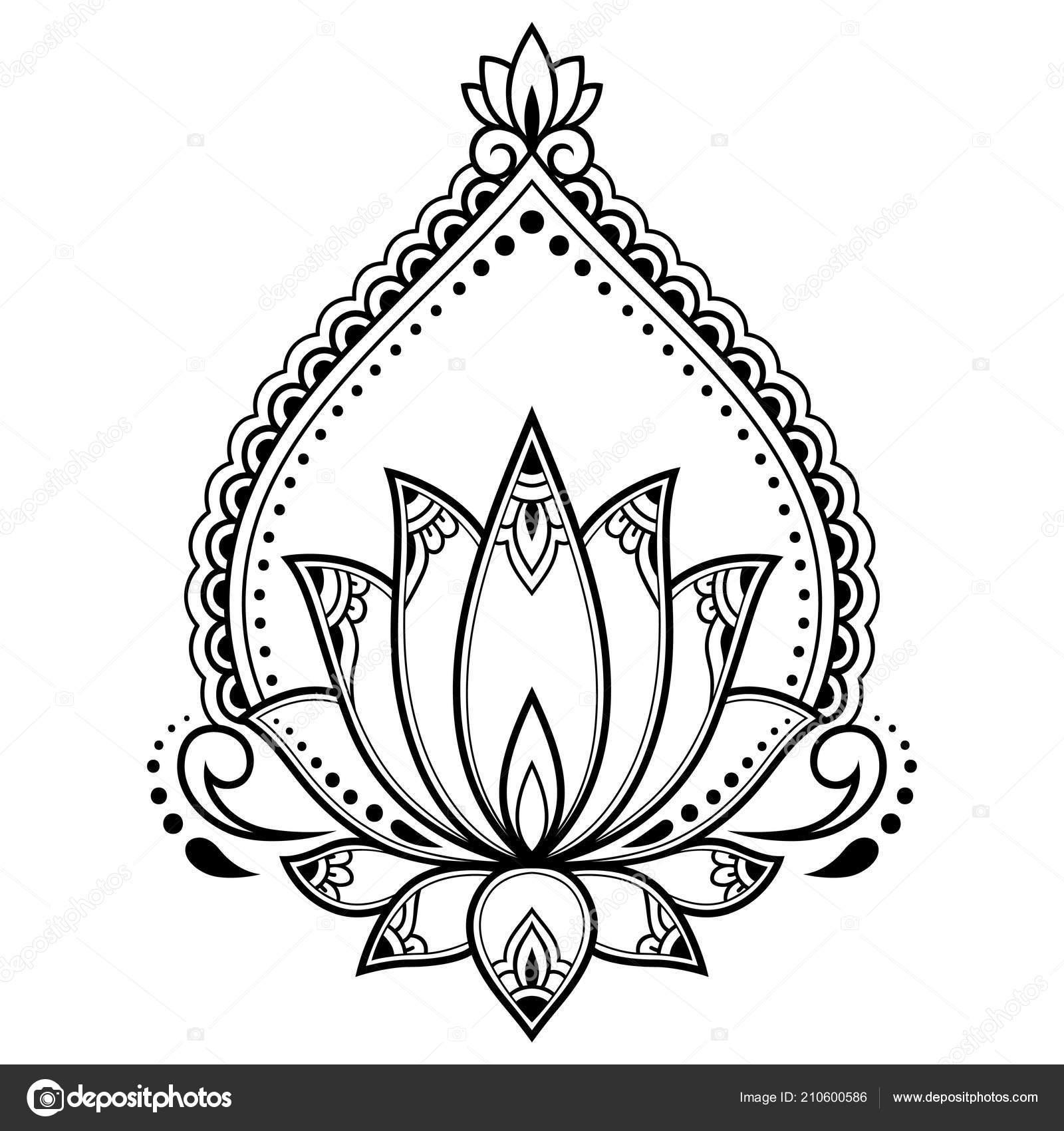 Motif Fleurs Lotus Mehndi Pour Dessin Henne Tatouage Decoration
