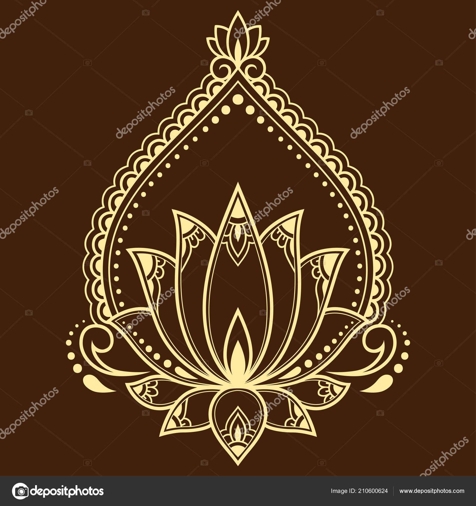 Mehndi Lotus Flower Pattern Henna Drawing Tattoo Decoration Ethnic