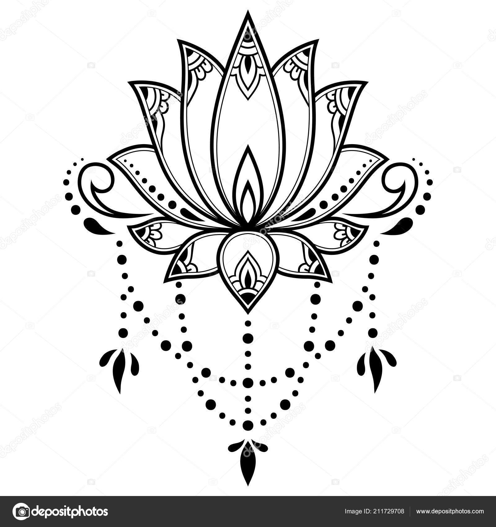 Padrão Flor Mehndi Lotus Para Desenho Henna Tatuagem