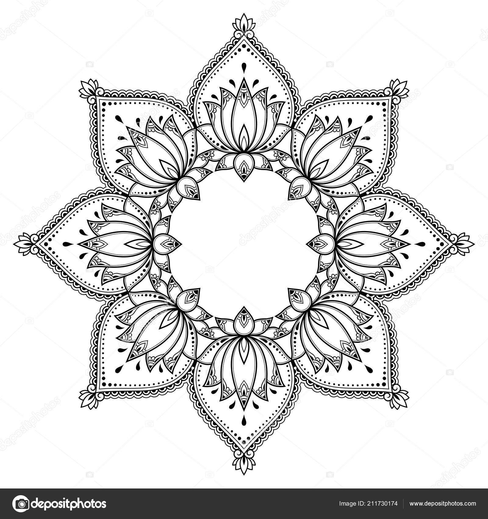 Patrón Circular Forma Mandala Con Flor Loto Para Henna Mehndi