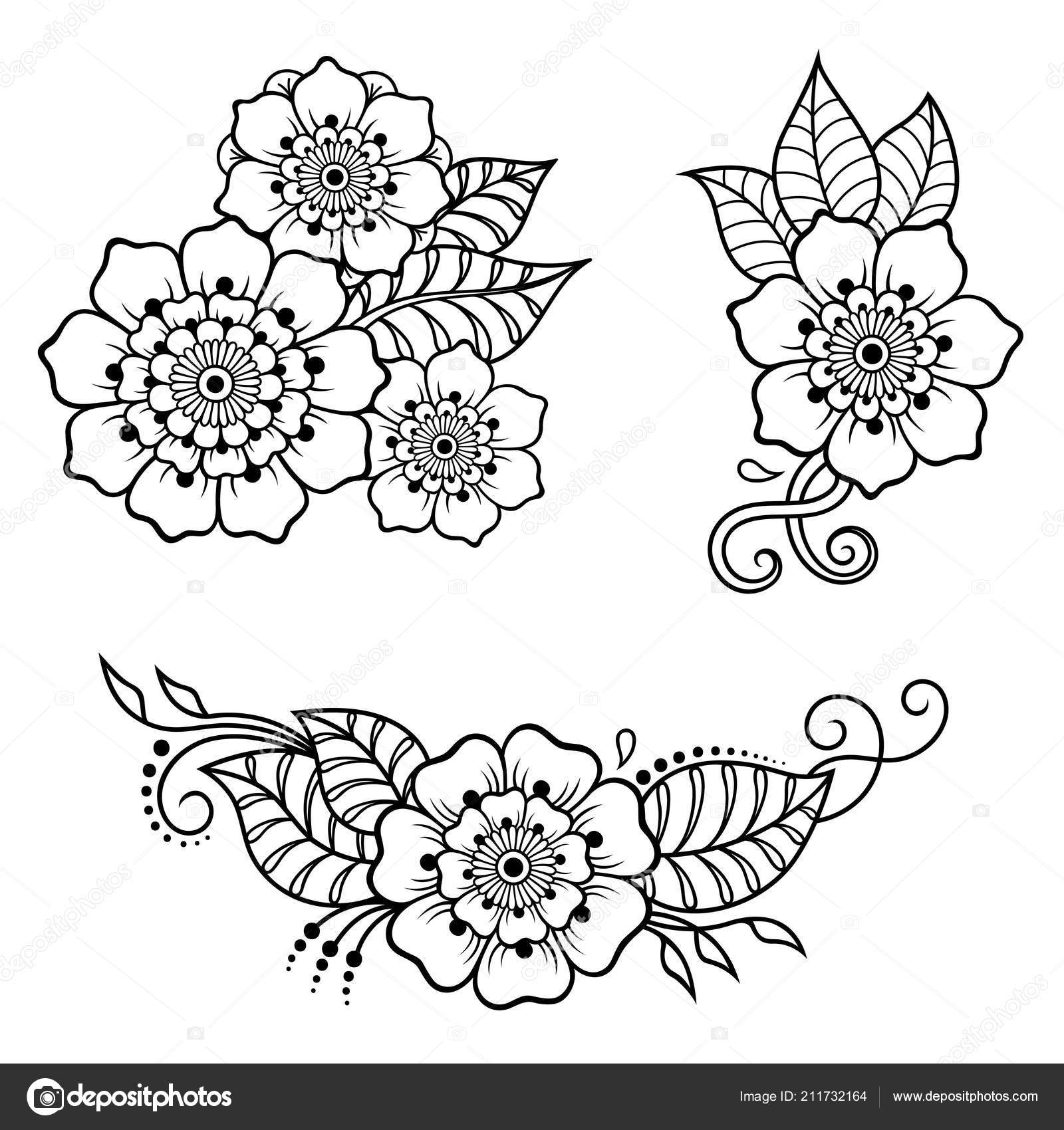 Set Mehndi Flower Pattern Henna Drawing Tattoo Decoration Ethnic
