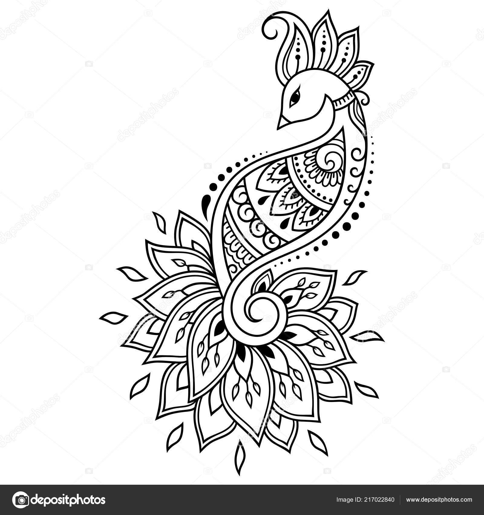 Patrón Flor Mehndi Con Pavo Real Dibujo Henna Tatuajes Decoración ...