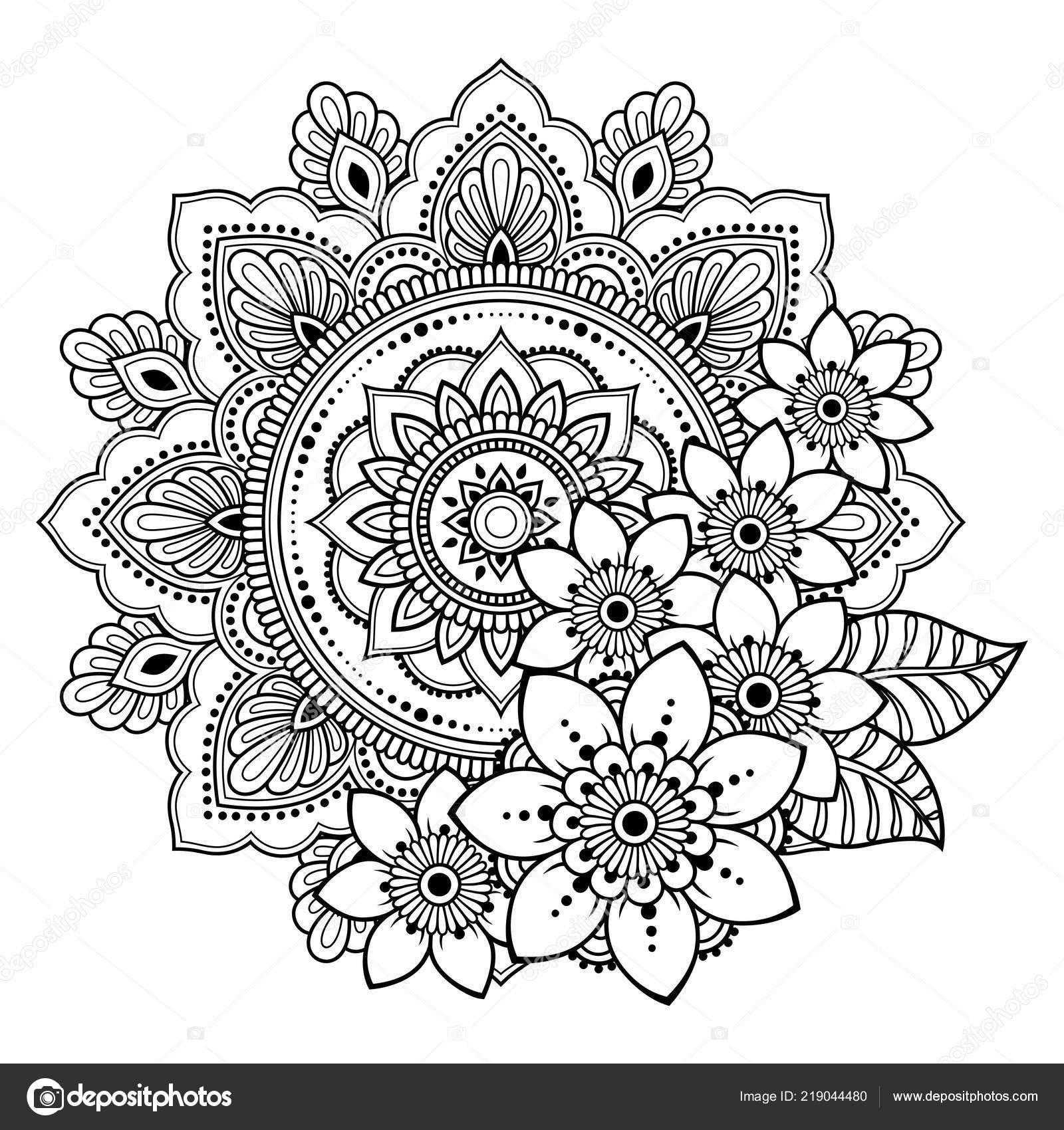 Circular Pattern Form Mandala Flower Henna Mehndi Tattoo Decoration