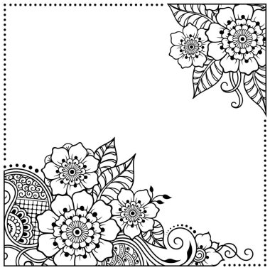 Stylized with henna tattoos decorative pattern for decorating covers for book, notebook, casket, magazine, postcard and folder. Flower in mehndi style. Frame in the eastern tradition.
