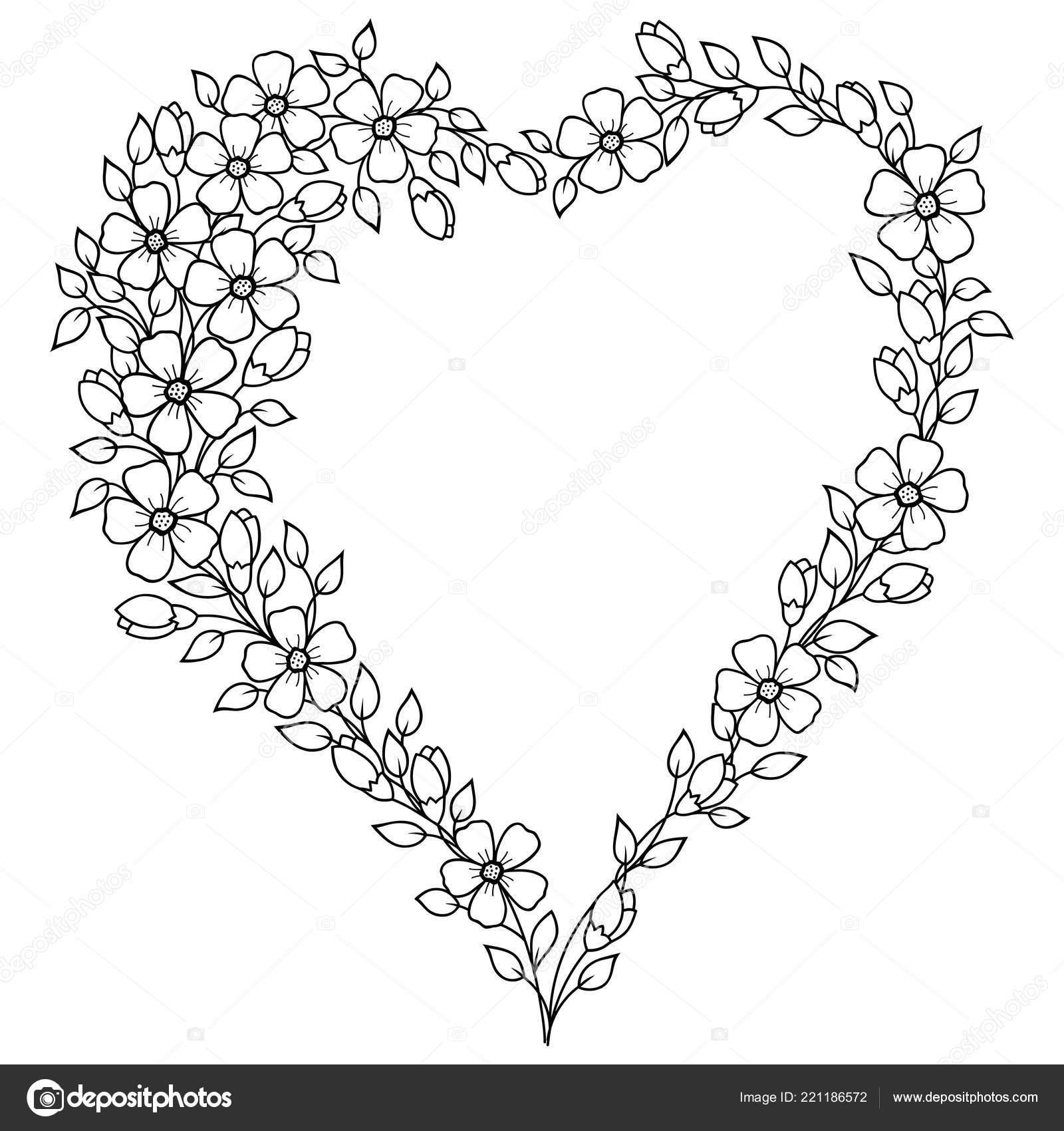 Coloriage Guirlande Fleurs.Motif Forme Coeur Pour Henne Mehndi Tatouage Decoration