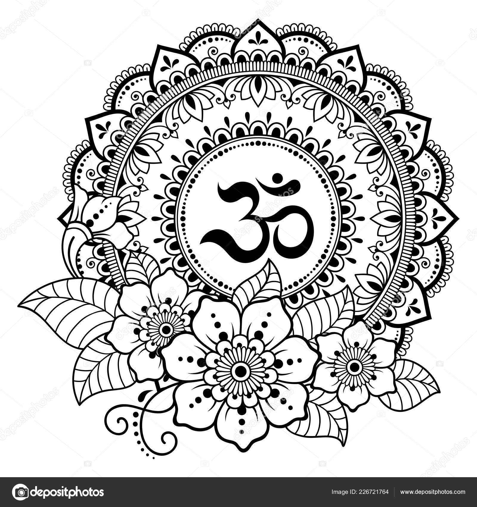 Motif Circulaire Forme Mandala Pour Mehndi Tatouage Henne Decoration