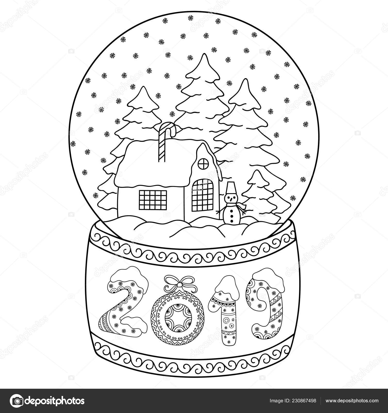 Toy Glass Snow Globe House Lettering Number 2019 Coloring ...