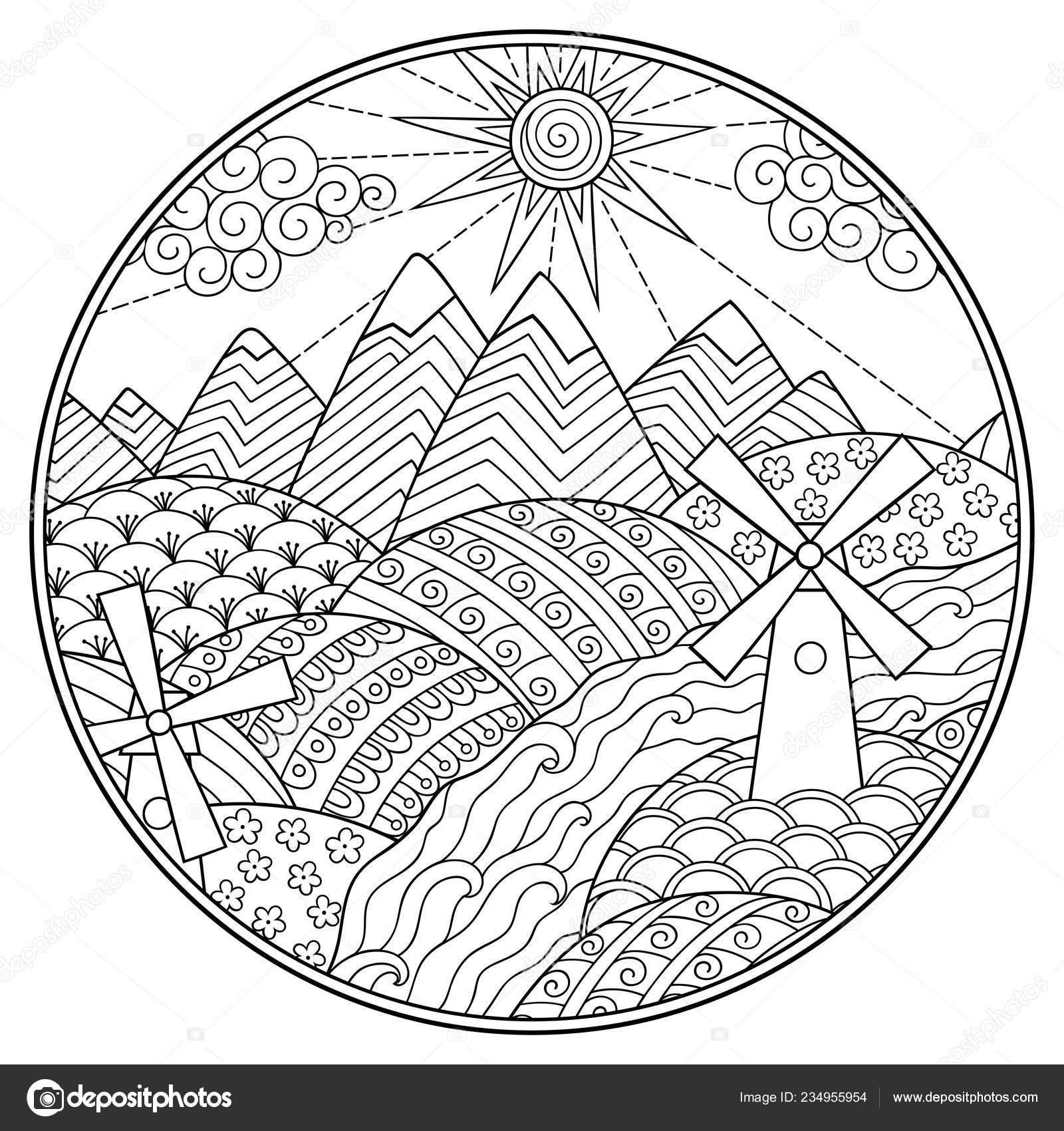 Libro Para Colorear Paisaje Montañas Ríos Campos Colinas Molinos