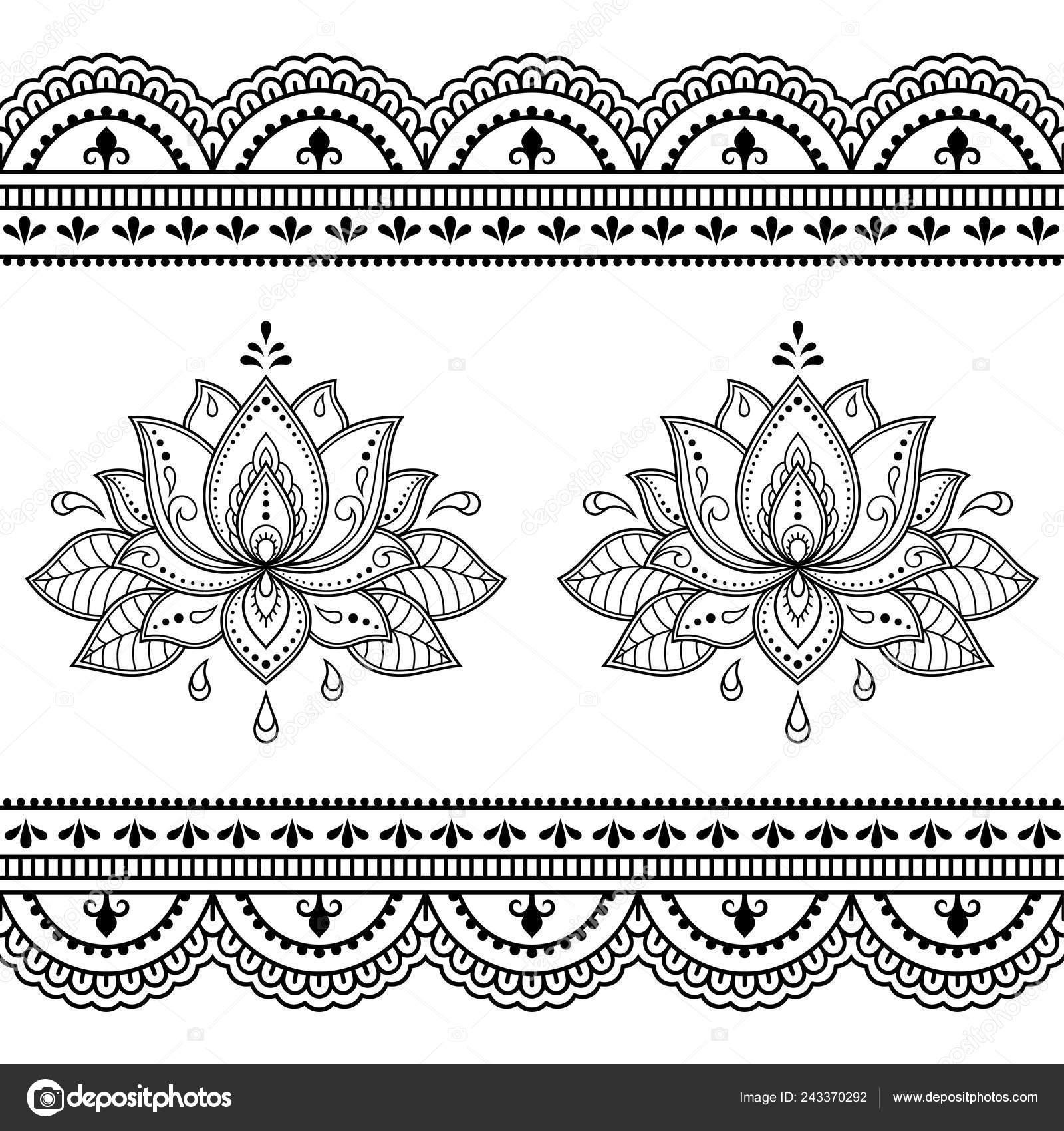 Set Mehndi Lotus Flower Pattern Seamless Border Henna Drawing Tattoo