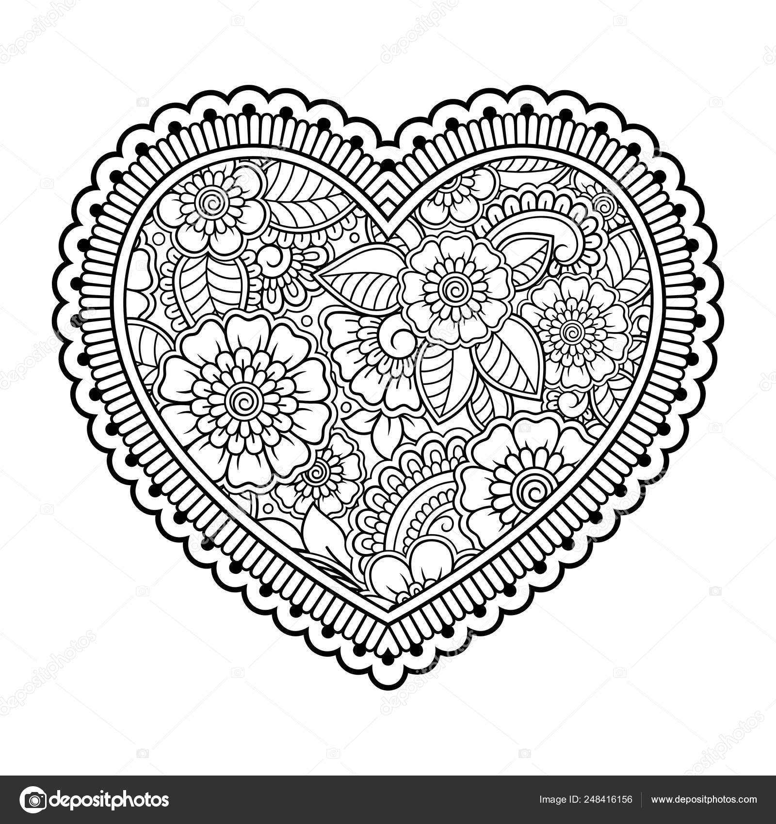 Mehndi Teste Padrao Flor Forma Coracao Para Desenho Henna Tatuagem