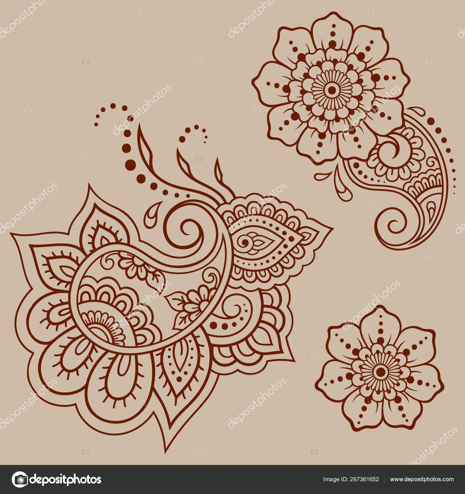 Conjunto Patrón Flores Mehndi Para Dibujo Tatuaje Henna