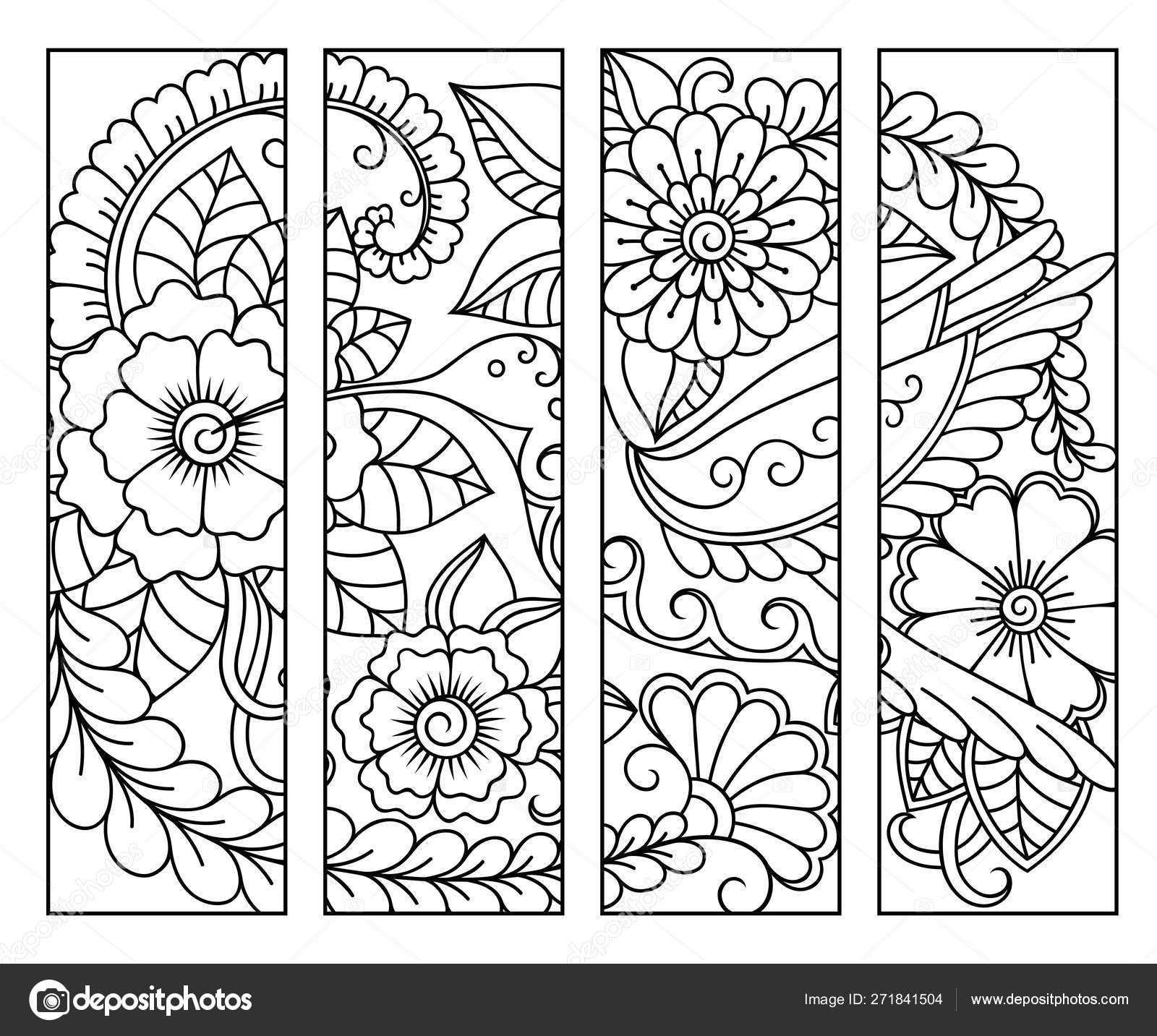 Bookmark Book Coloring Set Black White Labels Floral Doodle ...