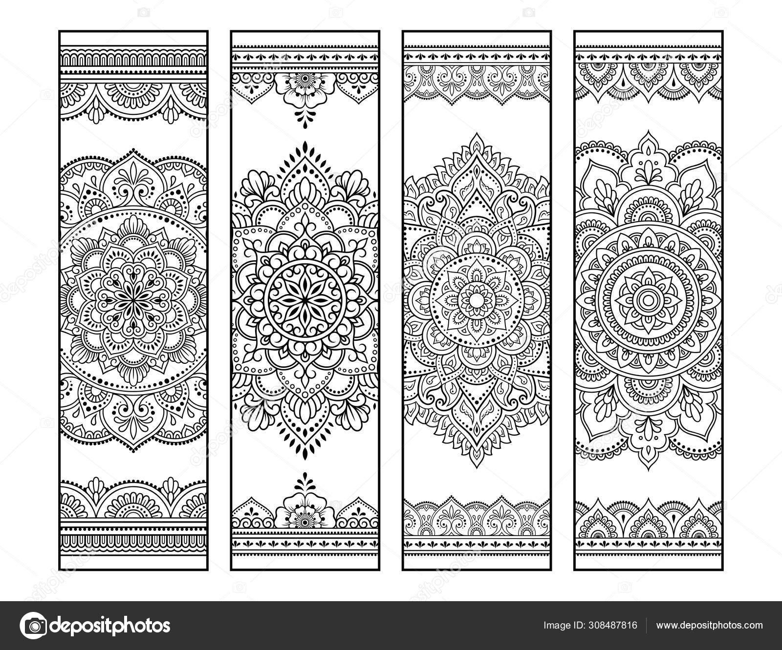 Printable Bookmark Book Coloring Set Black White Labels Mandala Patterns Stock Vector C Rugame Tera Gmail Com 308487816