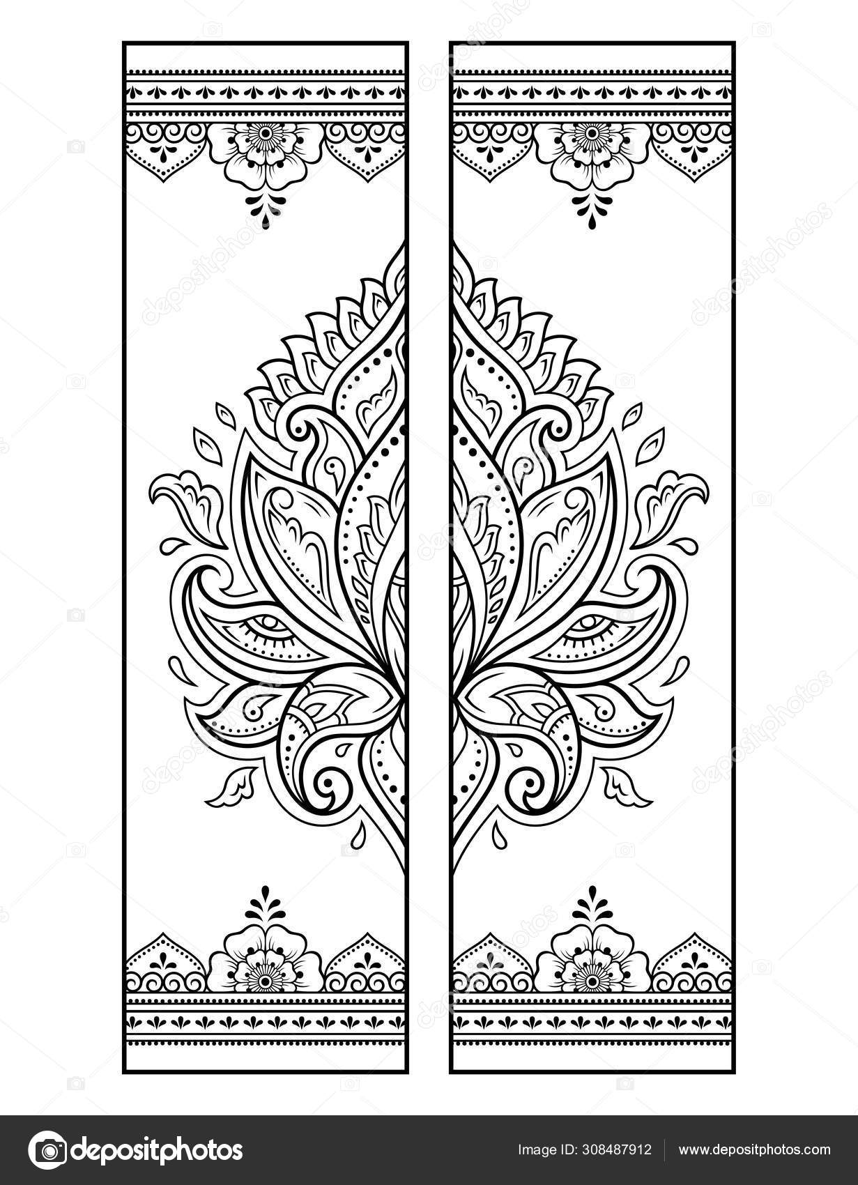 Printable Bookmark Coloring Set Black White Labels Lotus ...