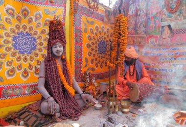 Local people at Kumbh Mela festival near Allahabad  in INDIA ,Uttar, Pradesh state stock vector