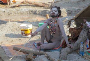 unidentified local man at Kumbh Mela festival near Allahabad  ,INDIA ,Uttar, Pradesh state